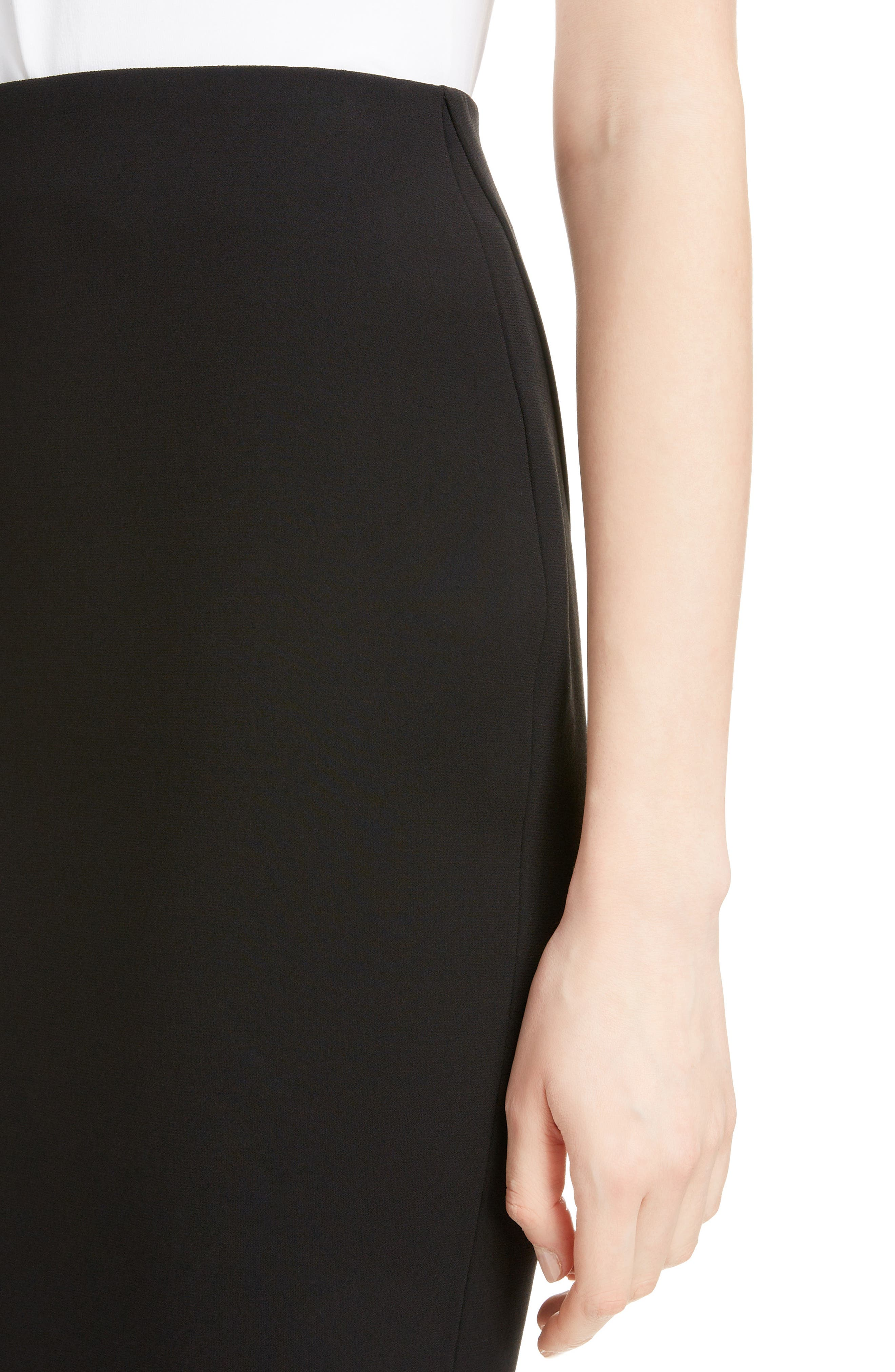 Back Zip Pencil Skirt,                             Alternate thumbnail 4, color,                             BLACK