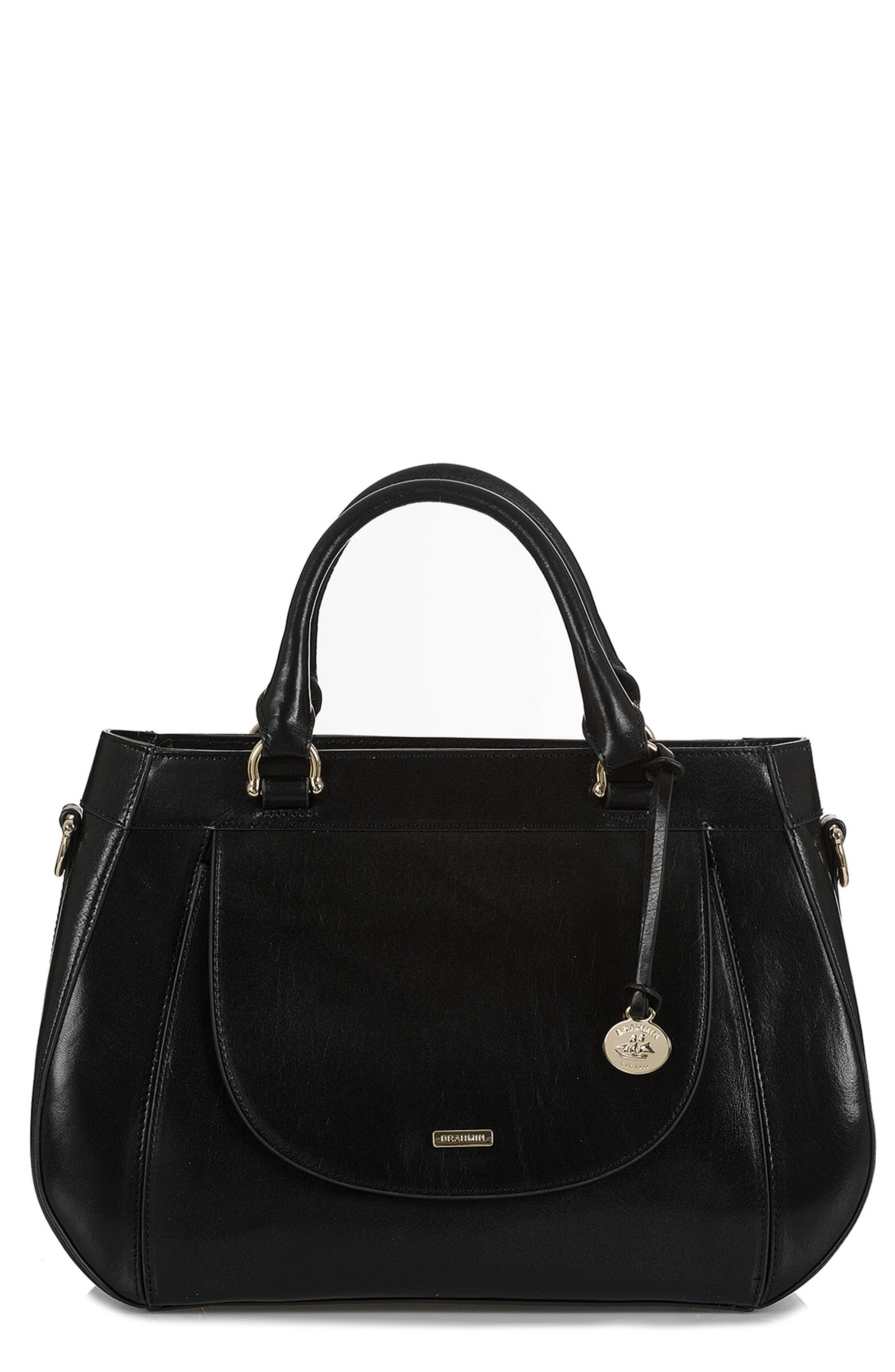 Raelynn Leather Satchel,                         Main,                         color, BLACK