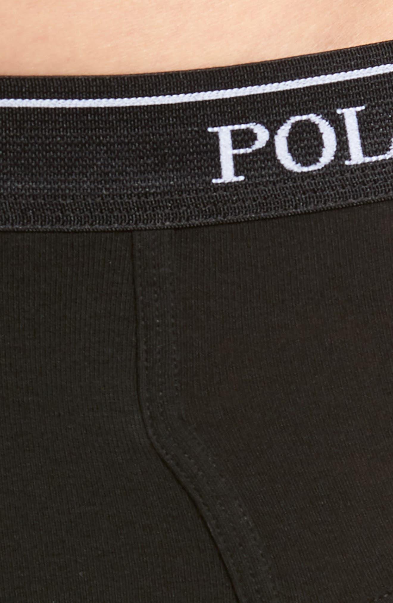 Polo Ralph Lauren 4-Pack Low Rise Cotton Briefs,                             Alternate thumbnail 5, color,                             POLO BLACK