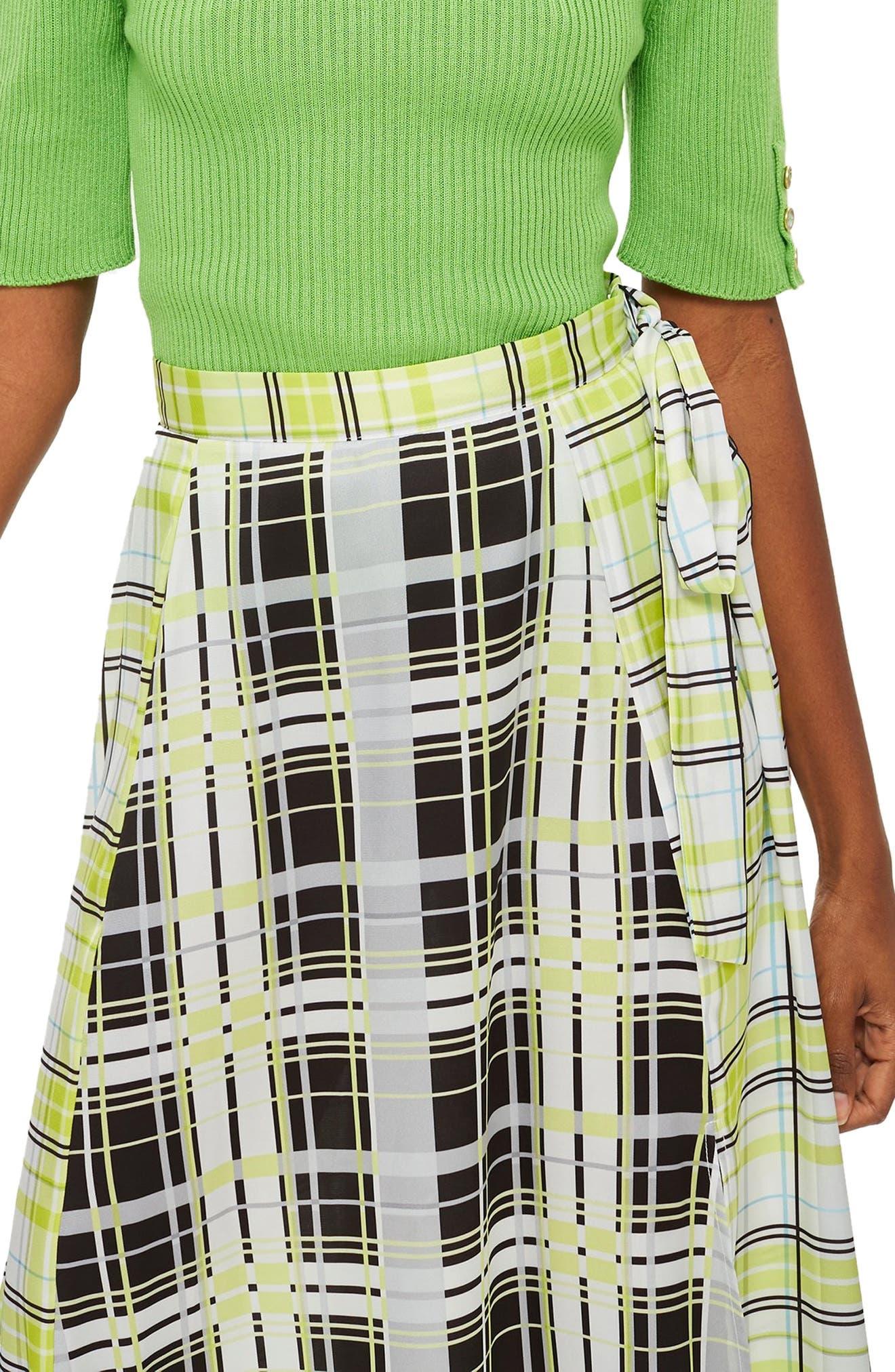 Topshop Obsession Mixed Check Print Midi Skirt