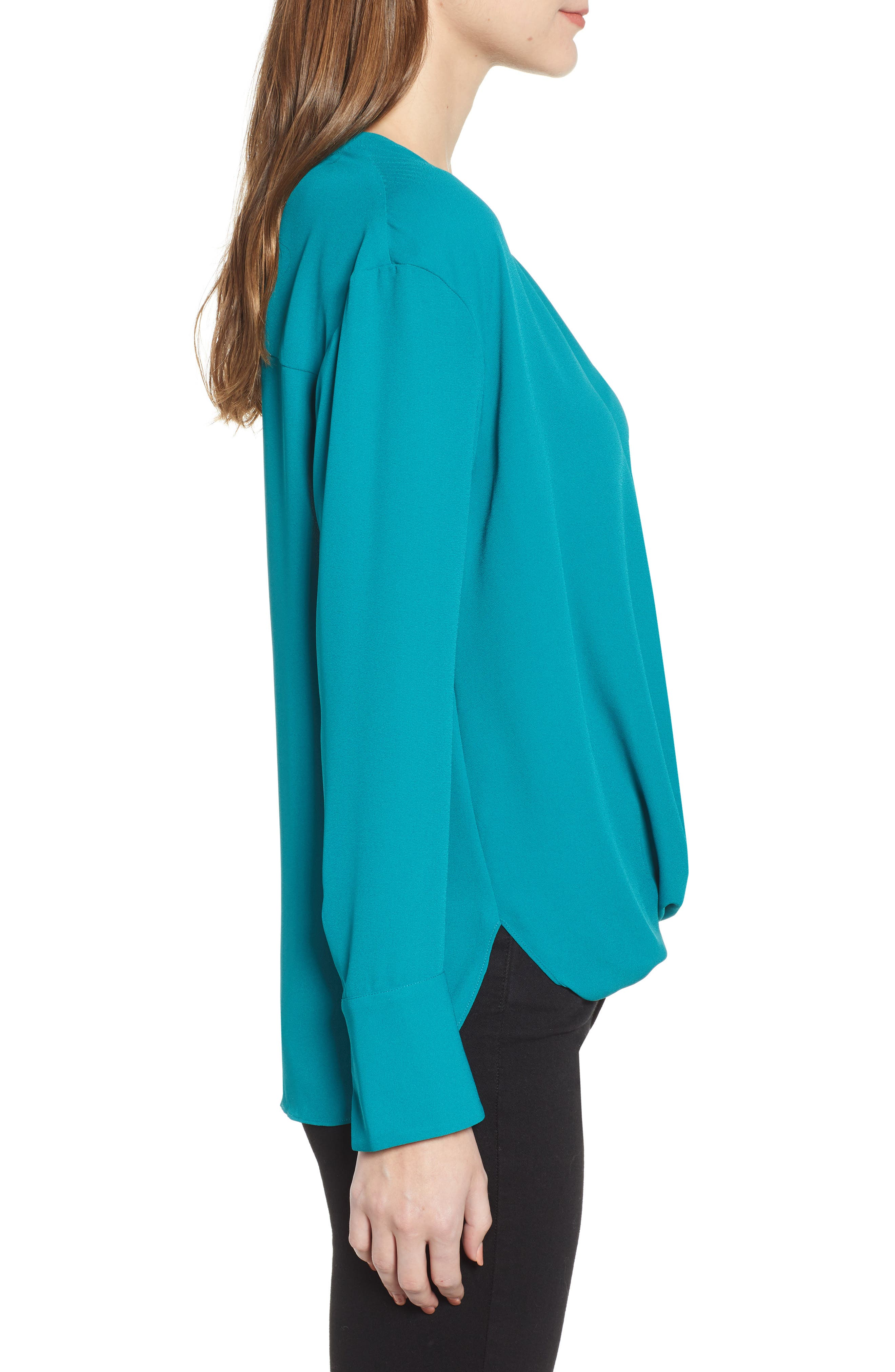 Drape Front Top,                             Alternate thumbnail 3, color,                             TEAL HARBOR