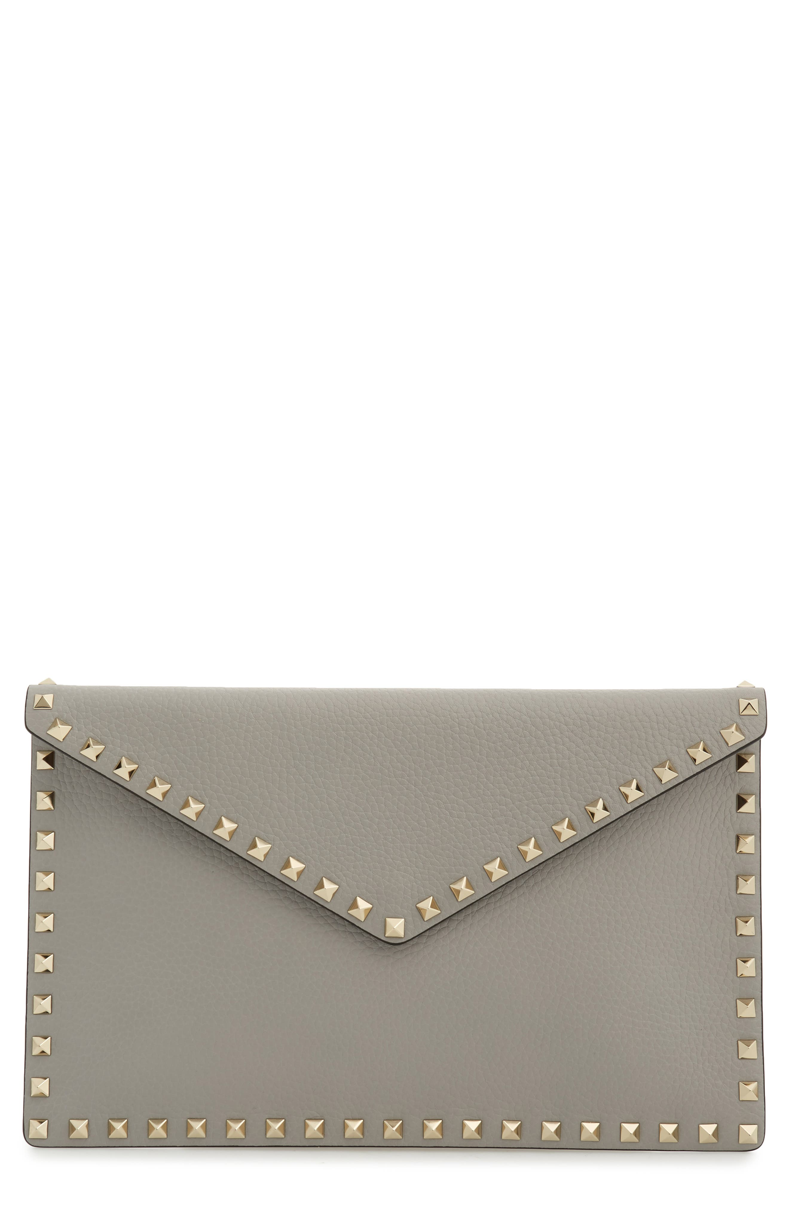 Large Rockstud Leather Pouch,                         Main,                         color, PASTEL GREY