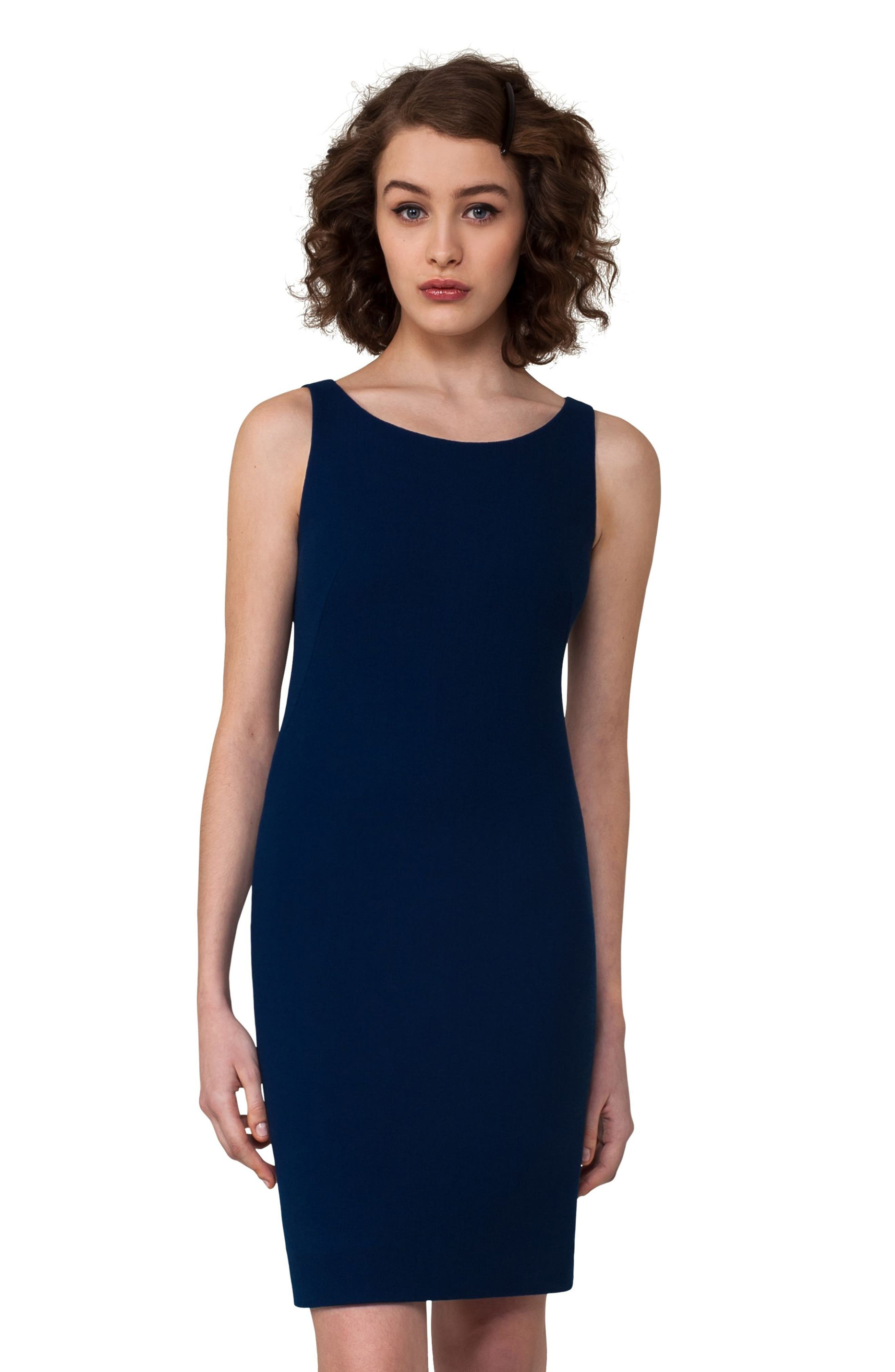 Double Face Wool Crepe Sheath Dress,                             Alternate thumbnail 4, color,                             400