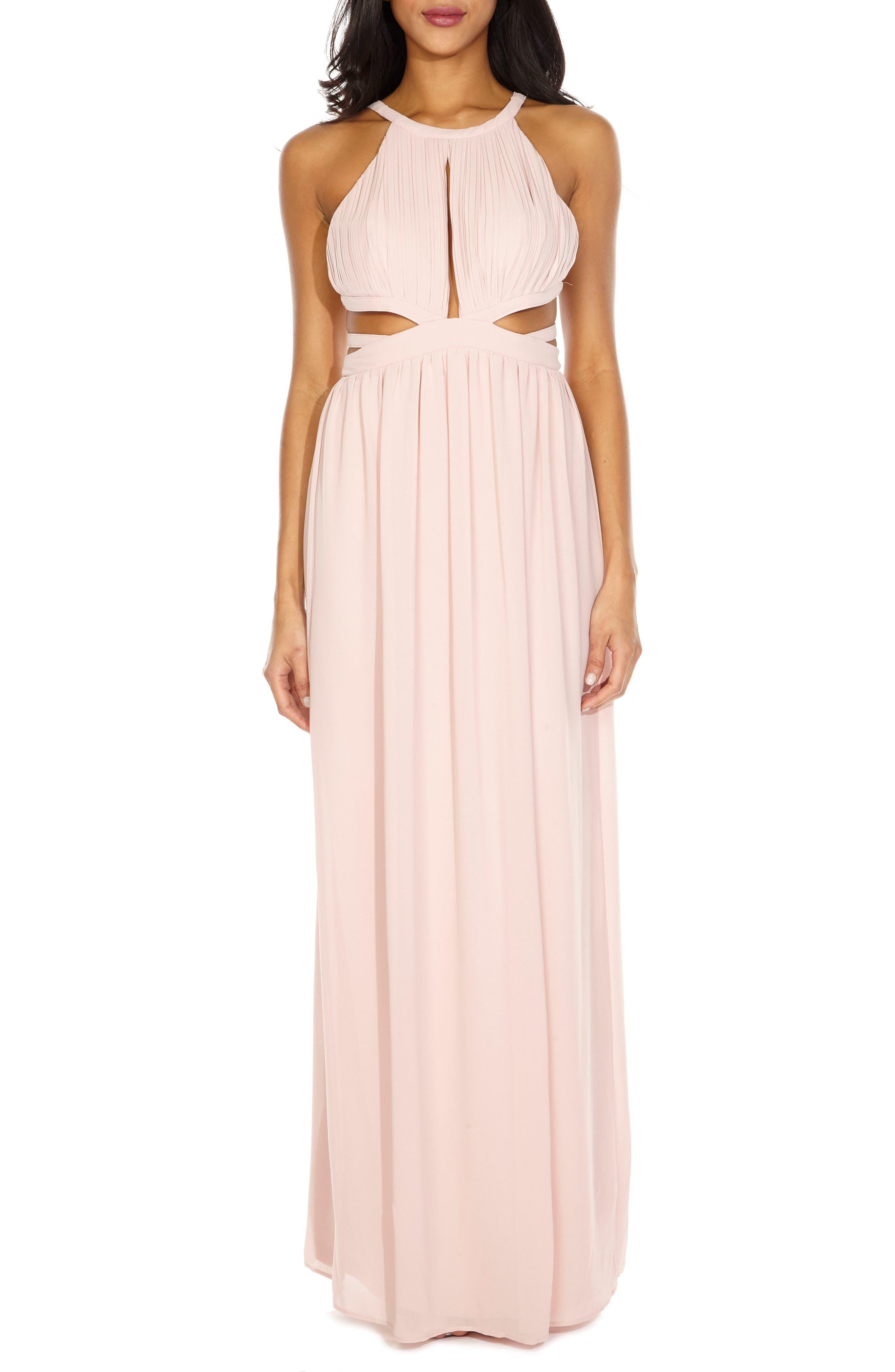 Evanthe Cutout Chiffon Gown,                         Main,                         color, 689