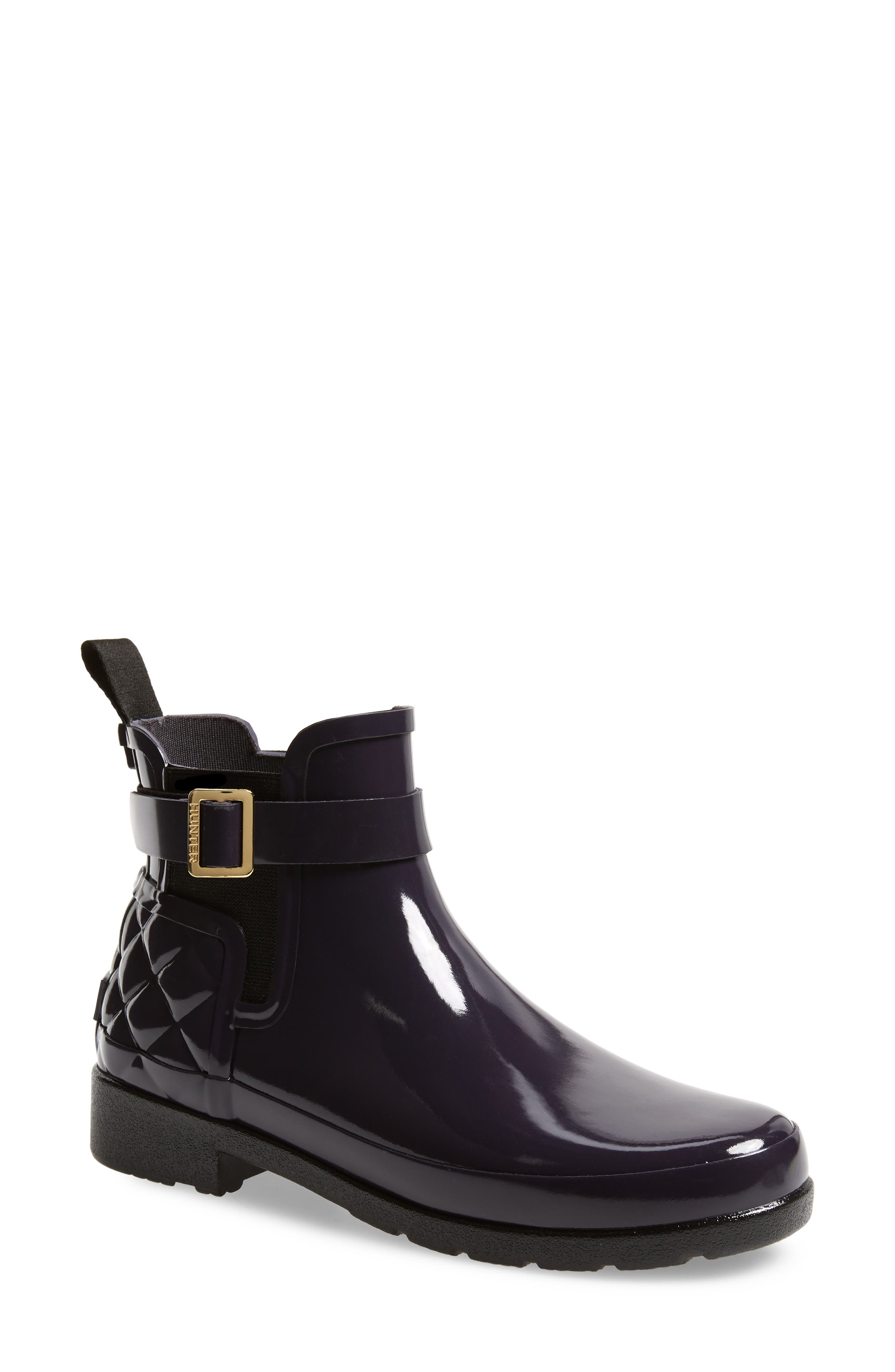 Original Refined Quilted Gloss Chelsea Waterproof Boot, Main, color, AUBERGINE
