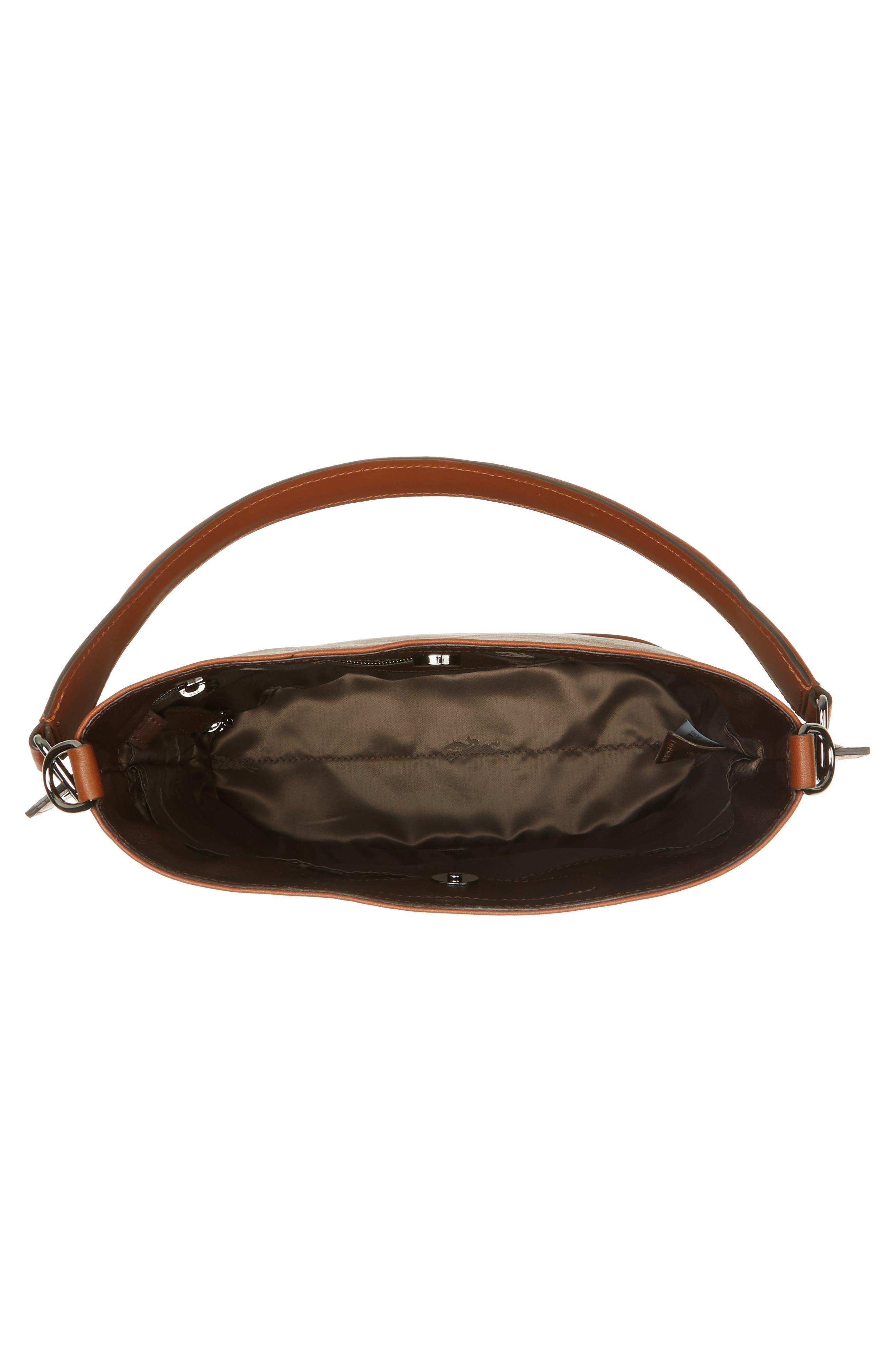3D Leather Bucket Bag,                             Alternate thumbnail 4, color,                             COGNAC