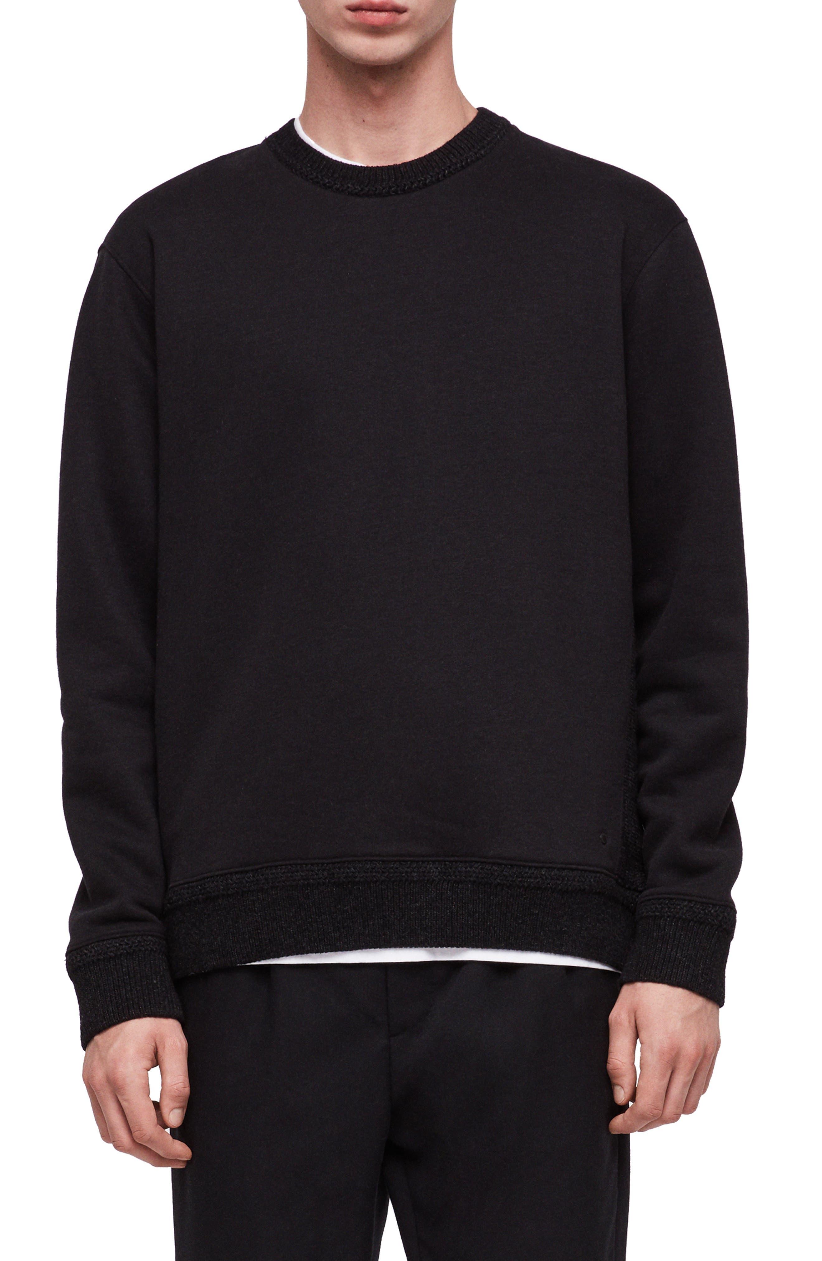Senior Crewneck Regular Fit Sweatshirt,                             Main thumbnail 1, color,                             JET BLACK