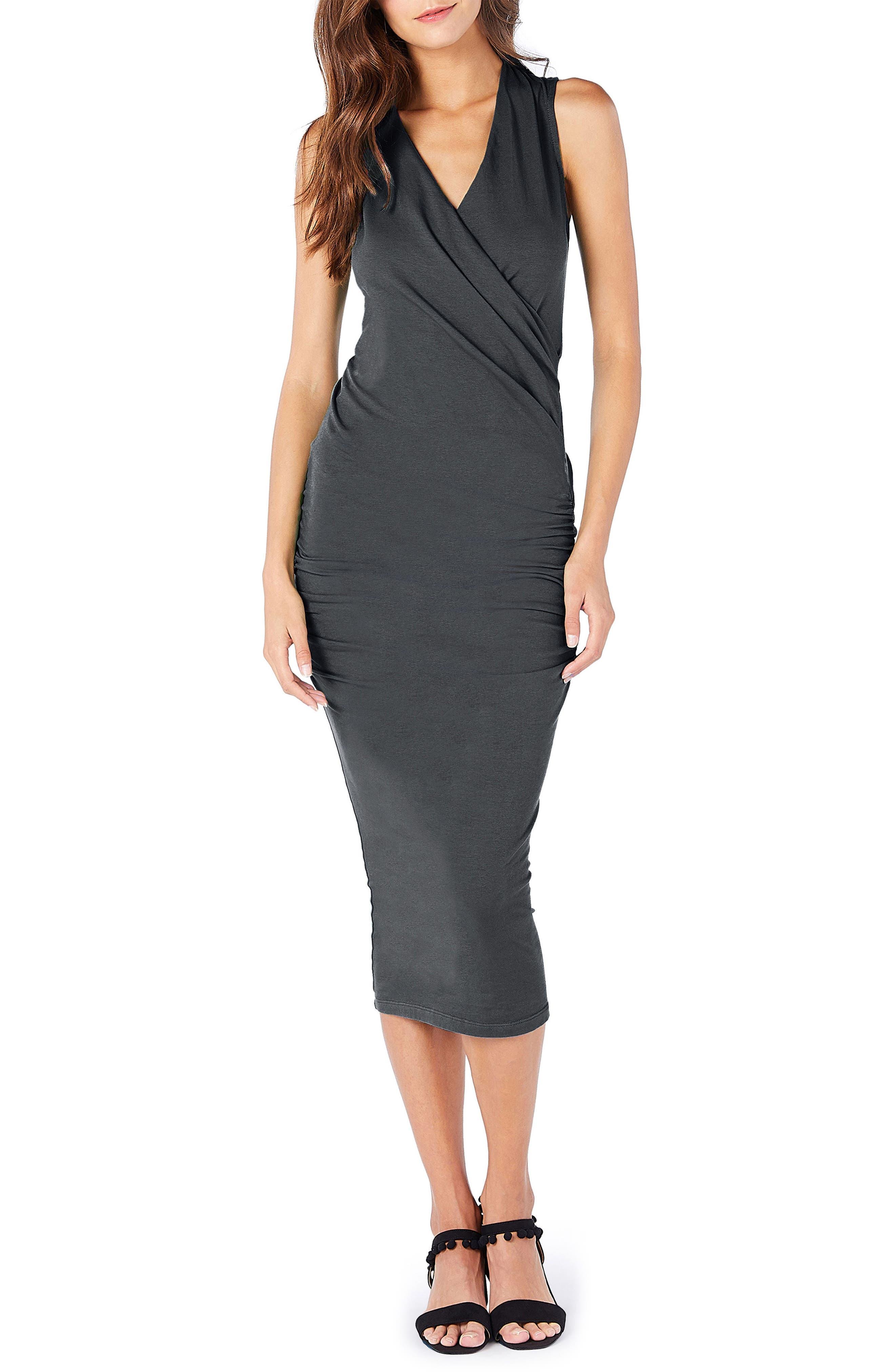 Michael Stars Faux Wrap Midi Dress, Grey