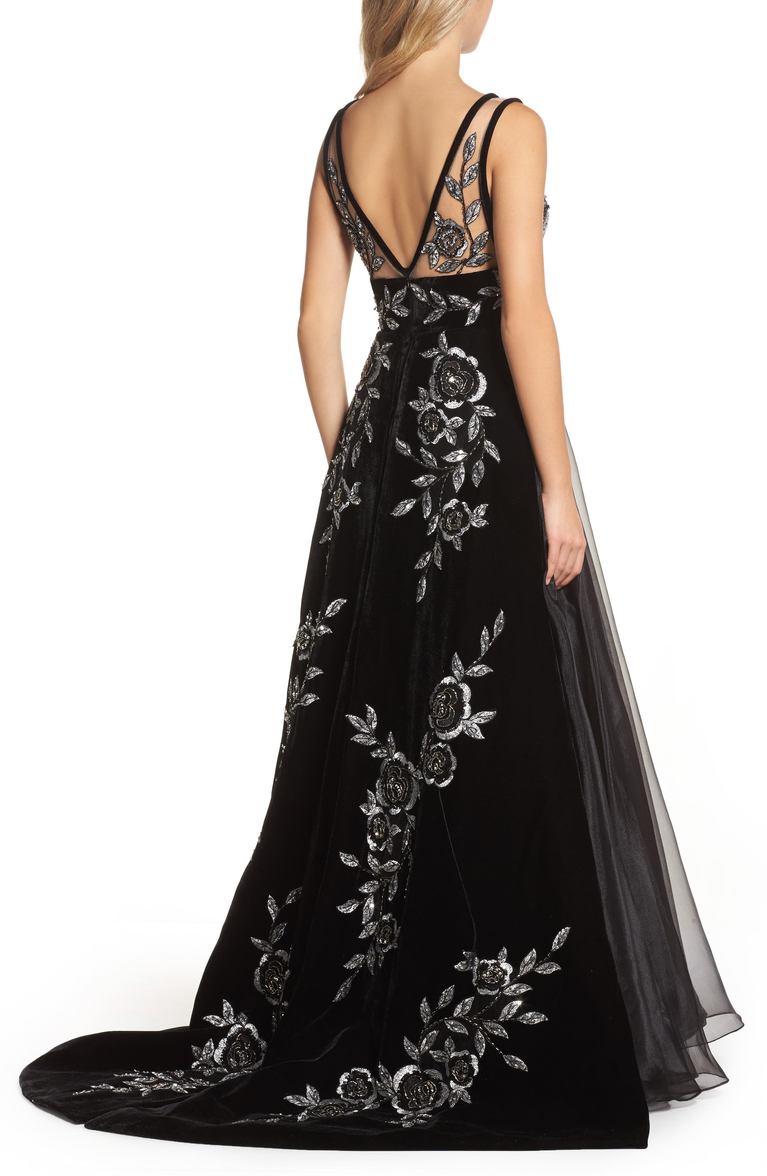 Embroidered Plunge Neck Ballgown,                             Alternate thumbnail 2, color,                             BLACK