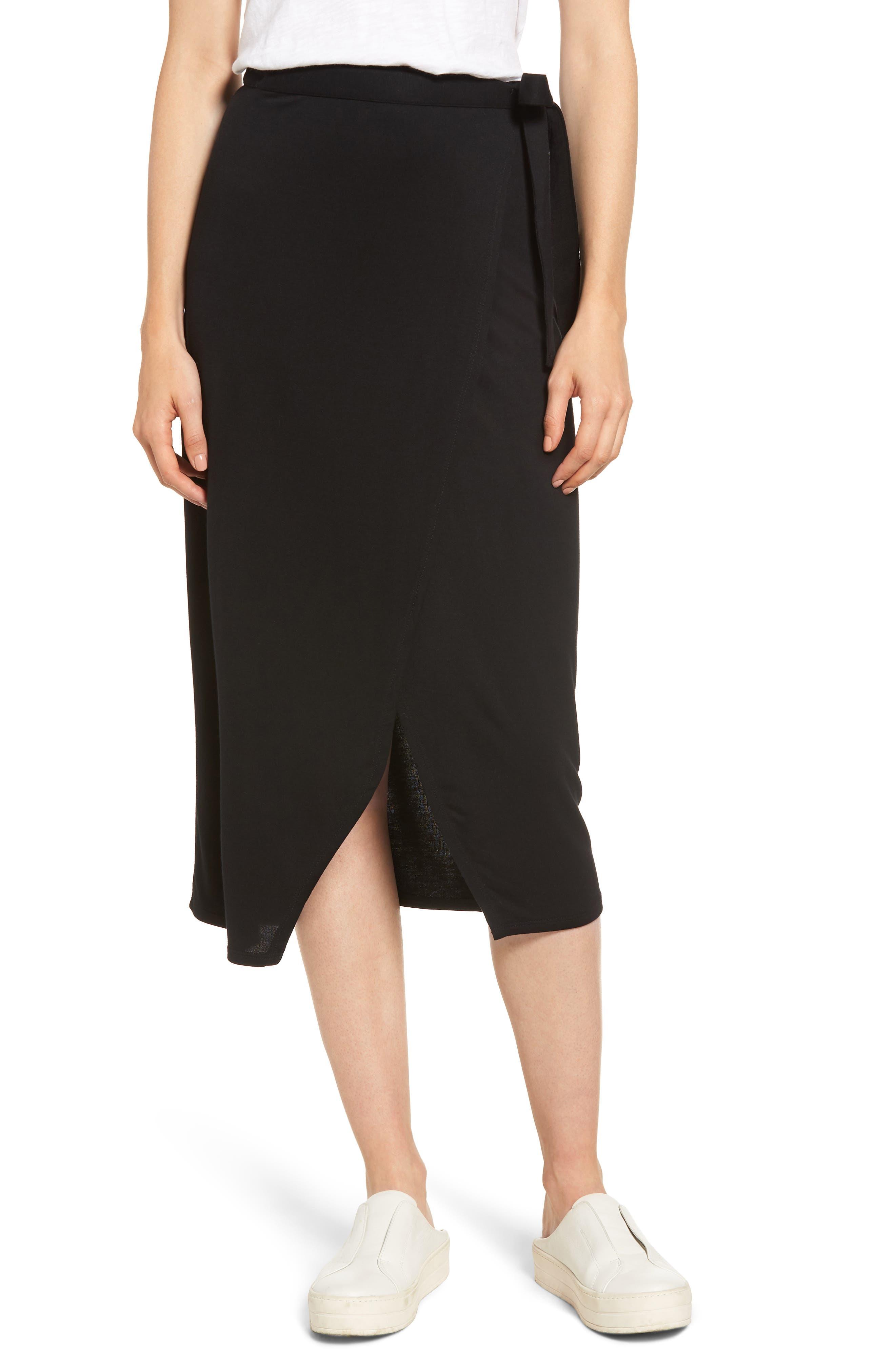 Press Wrap Skirt, Black