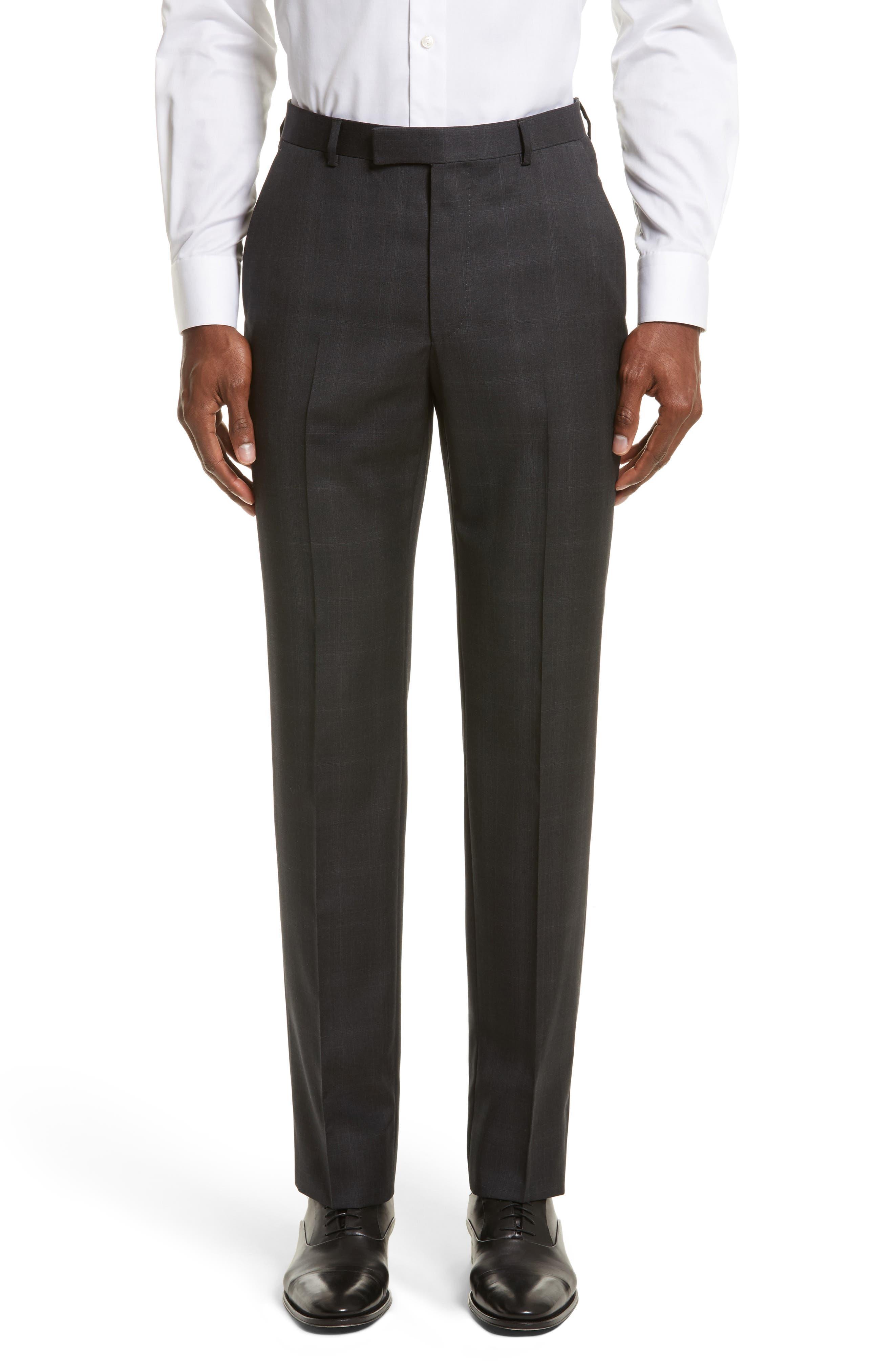 Drop 7 Trim Fit Plaid Wool Suit,                             Alternate thumbnail 6, color,                             026