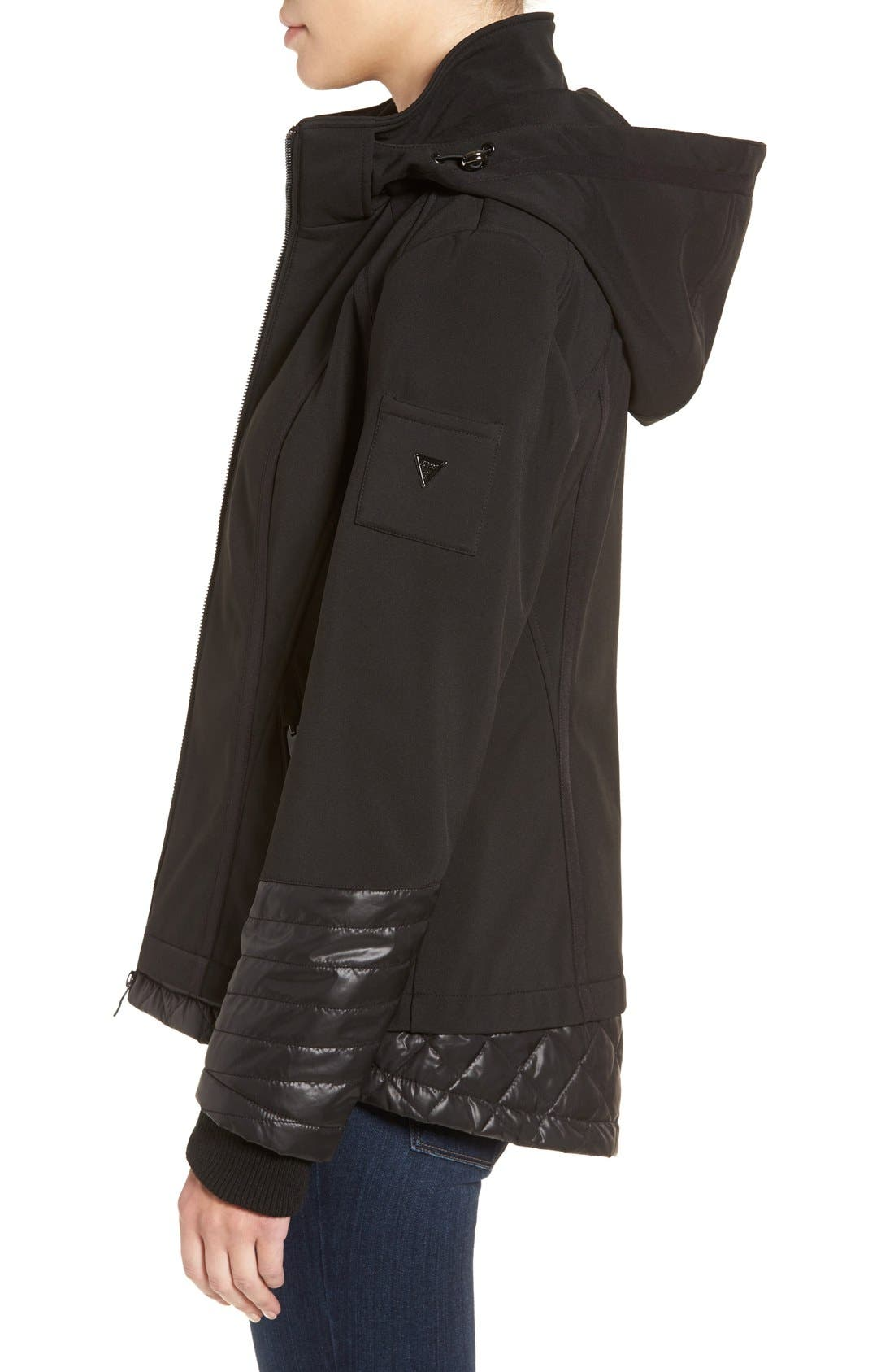 Water Resistant Hooded Soft Shell Jacket,                             Alternate thumbnail 3, color,                             001