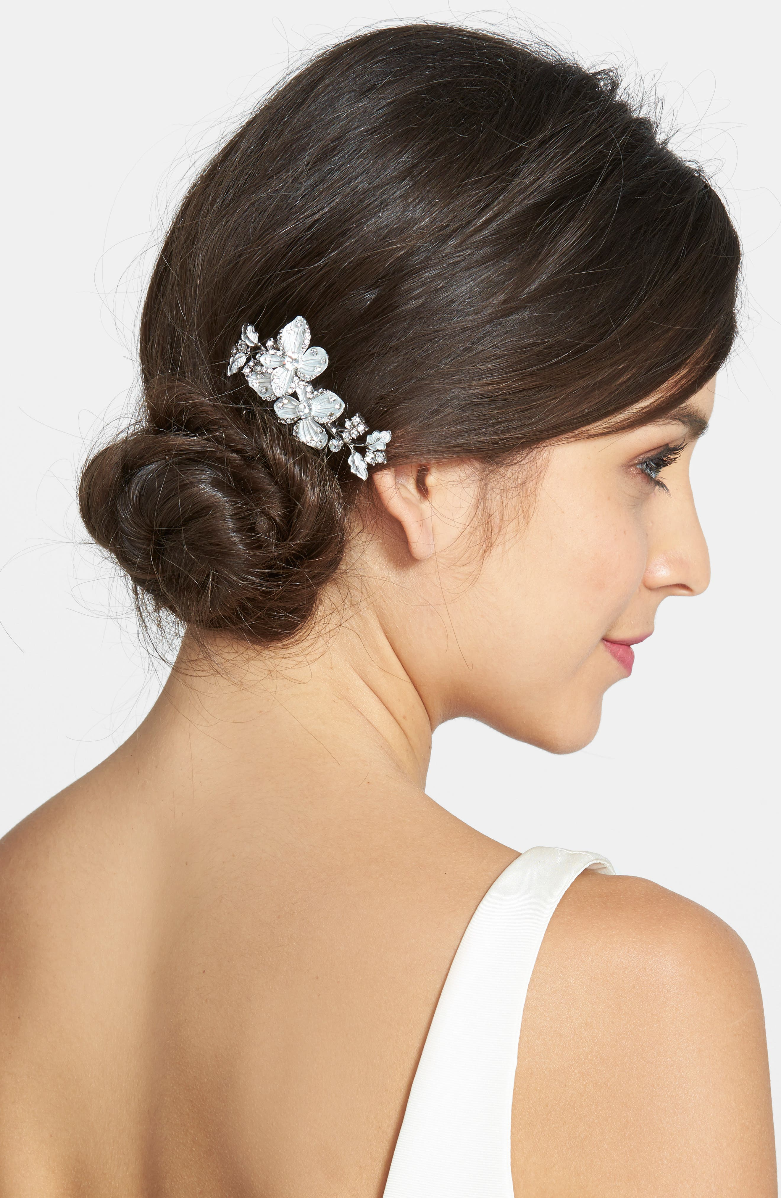 Crystal Floral Hair Comb,                         Main,                         color, SILVER