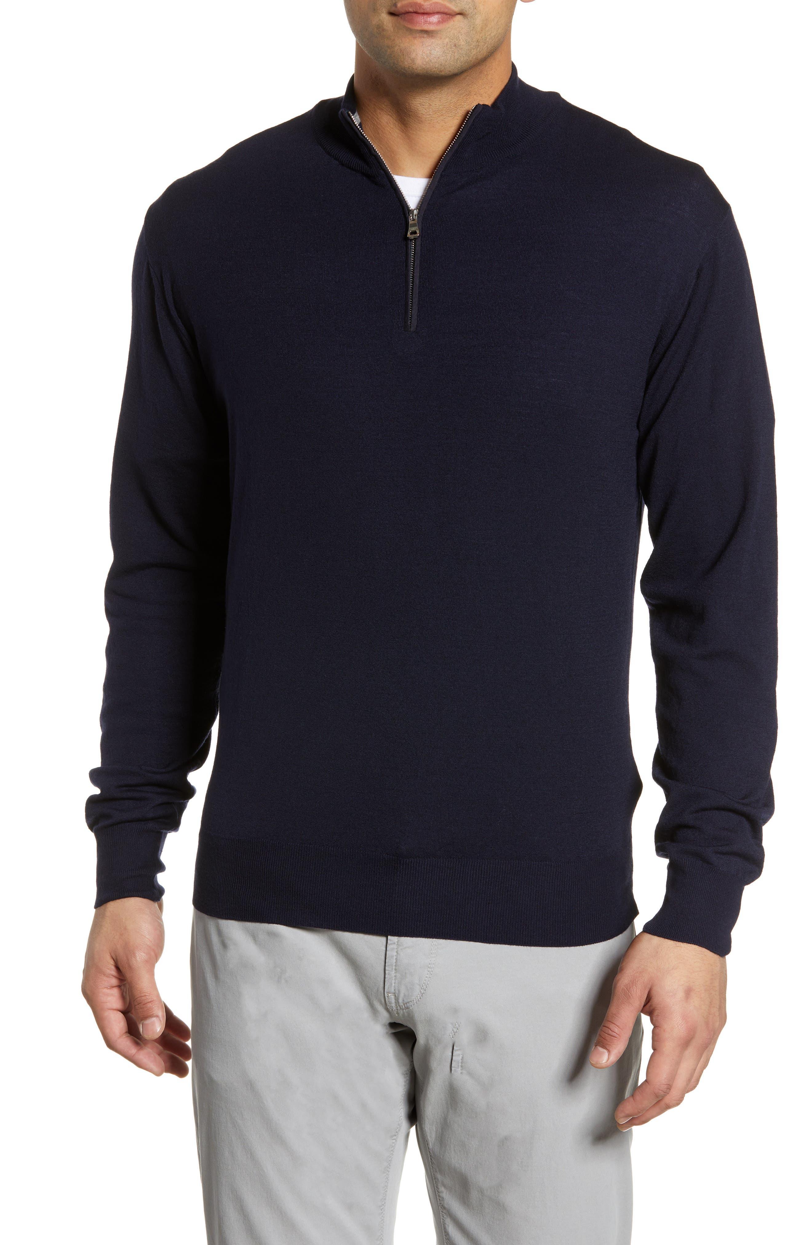 Peter Millar Collection Excursionist Flex Quarter Zip Merino Wool Pullover, Blue