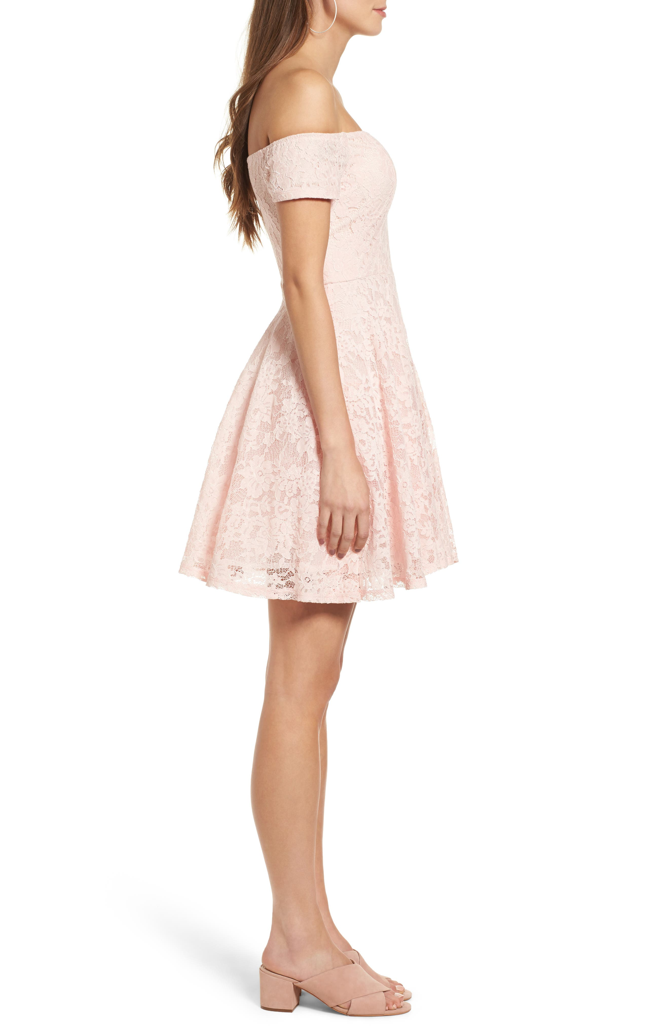 Lace Off the Shoulder Fit & Flare Dress,                             Alternate thumbnail 20, color,