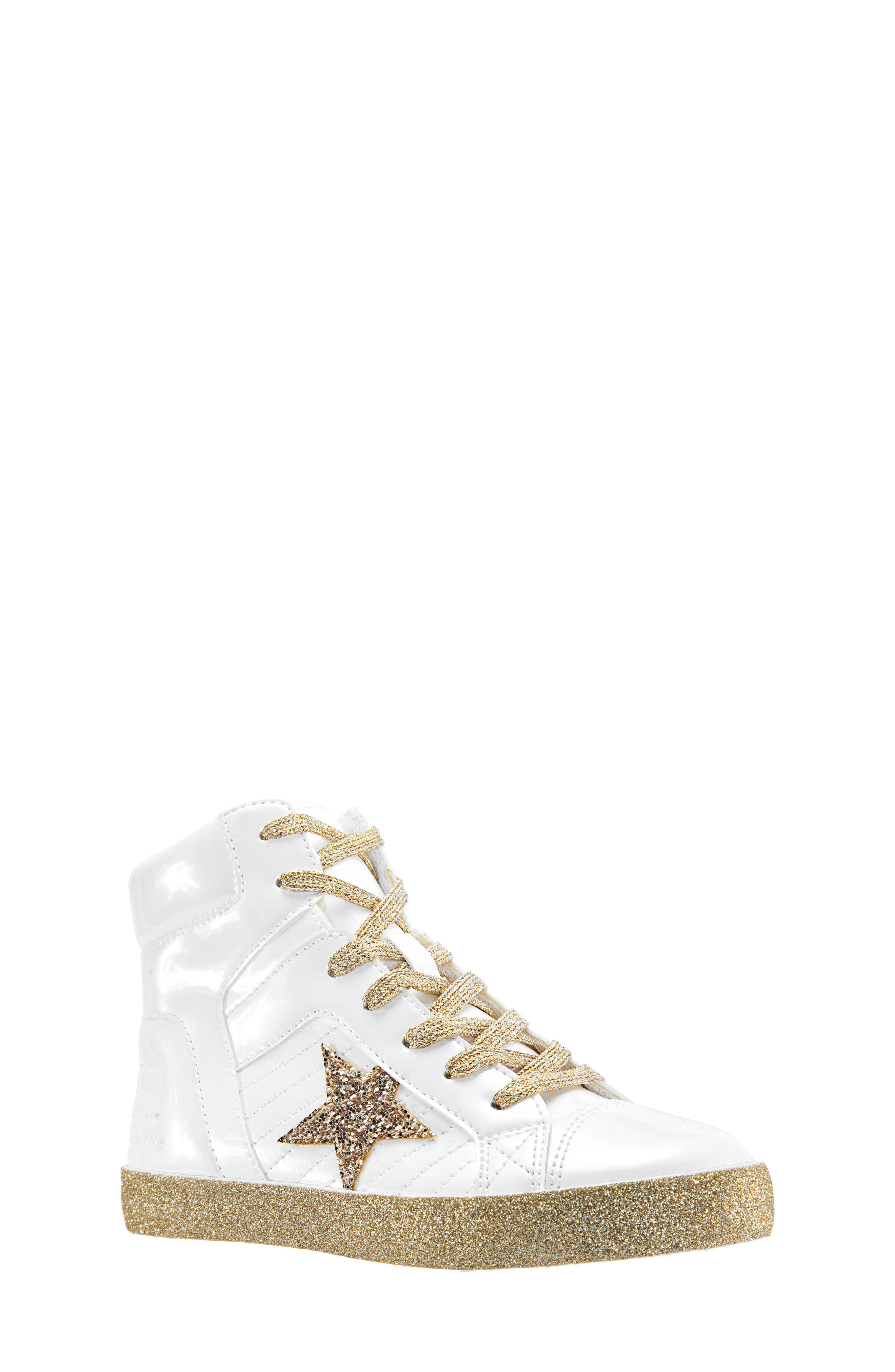 Jesy Glitter High Top Sneaker,                             Main thumbnail 1, color,                             WHITE PEARLIZED PATENT