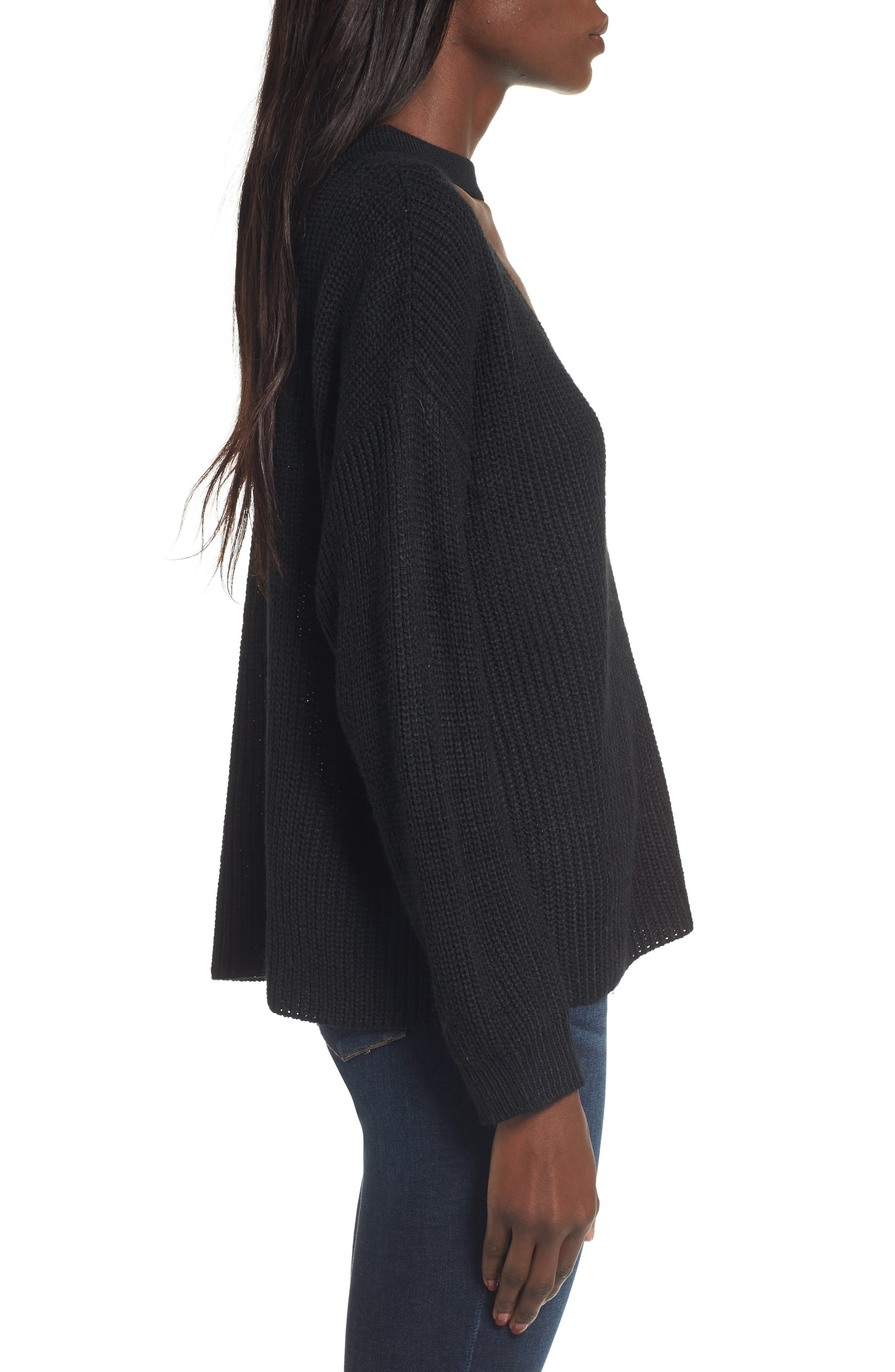 Madison Cutout Sweater,                             Alternate thumbnail 3, color,                             001