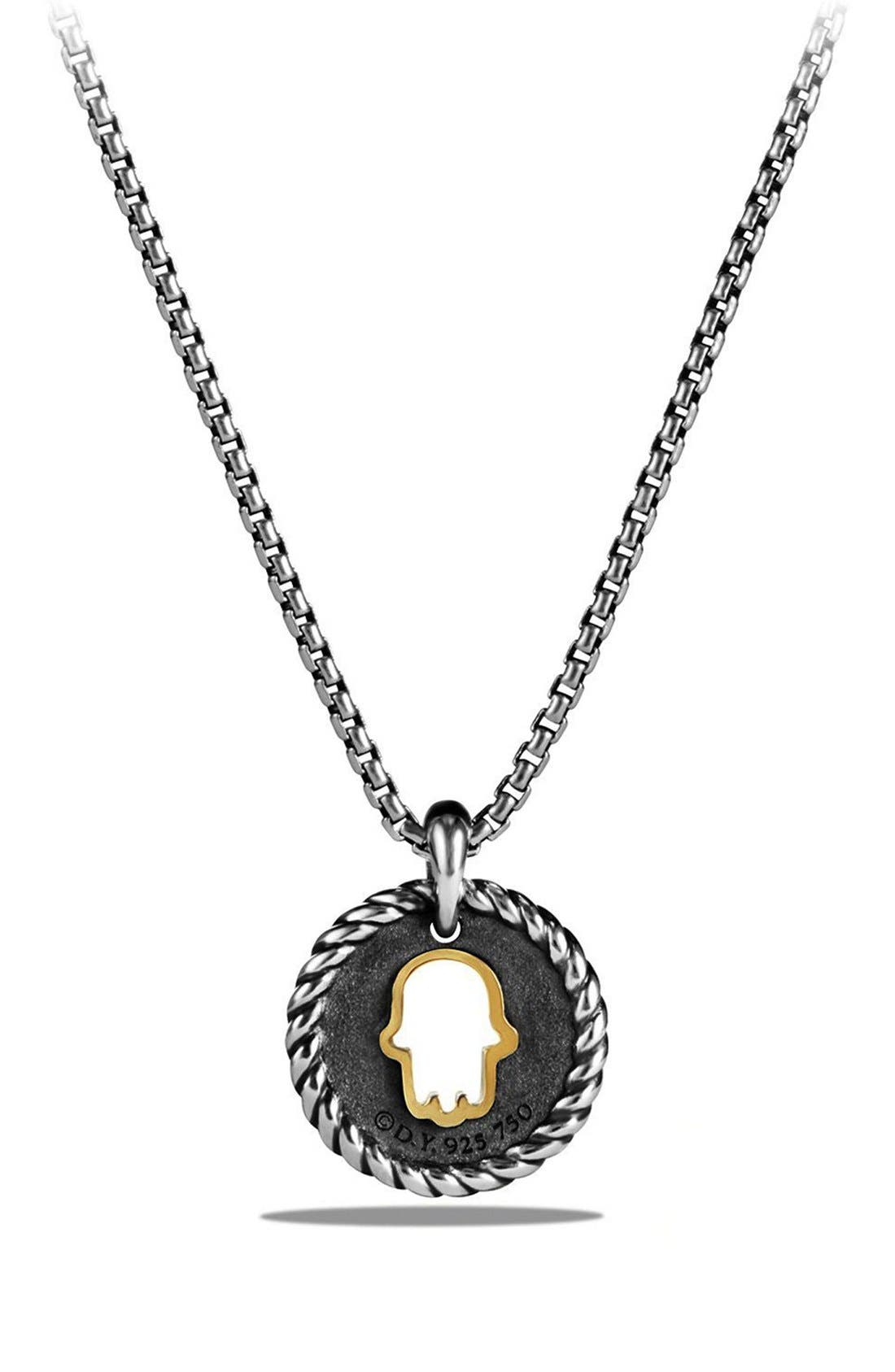 'Cable Collectibles' Hamsa Charm Necklace with Diamonds & 18K Gold,                             Alternate thumbnail 2, color,                             SILVER