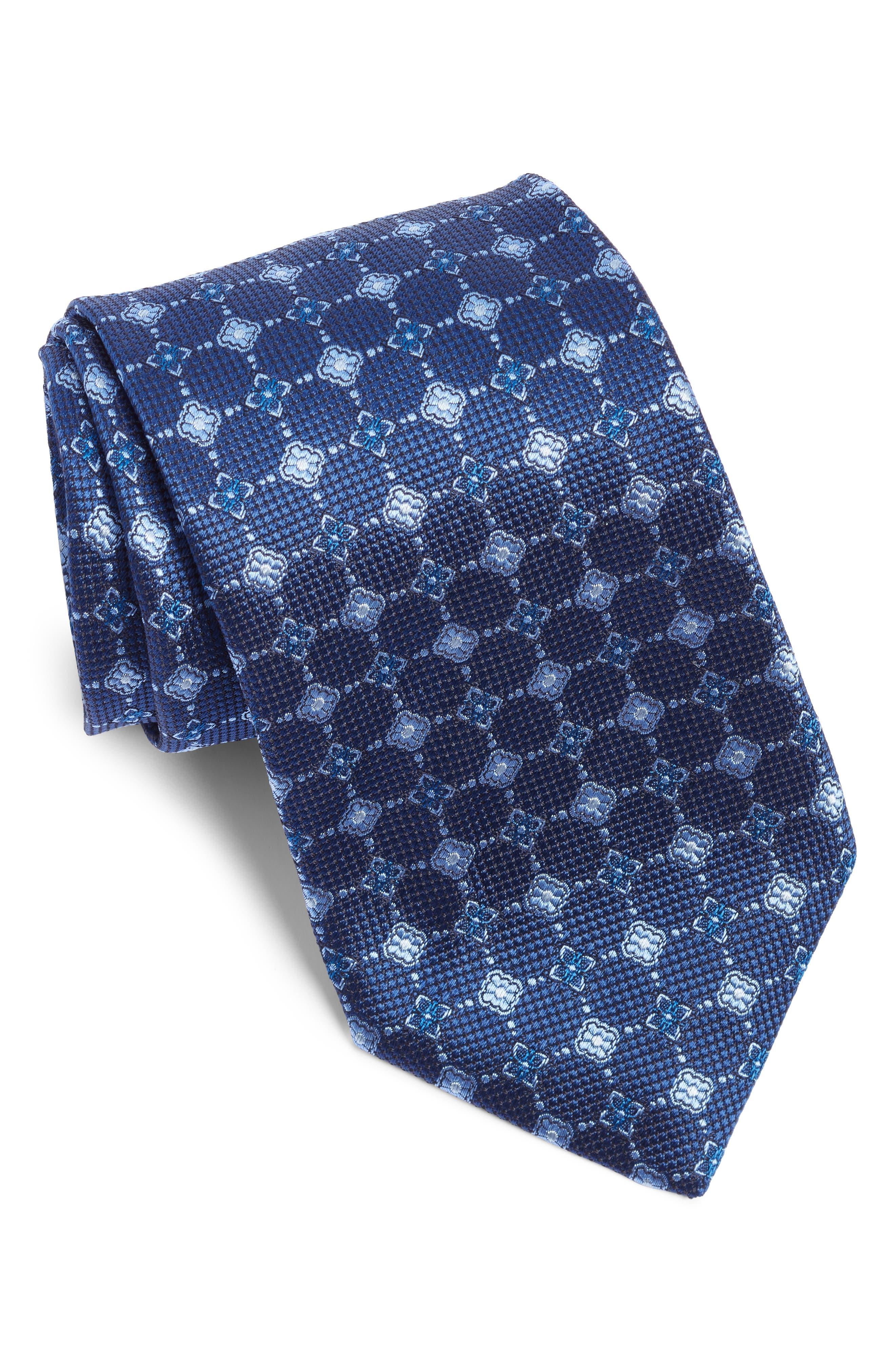 Medallion Silk Tie,                             Main thumbnail 1, color,                             BLUE