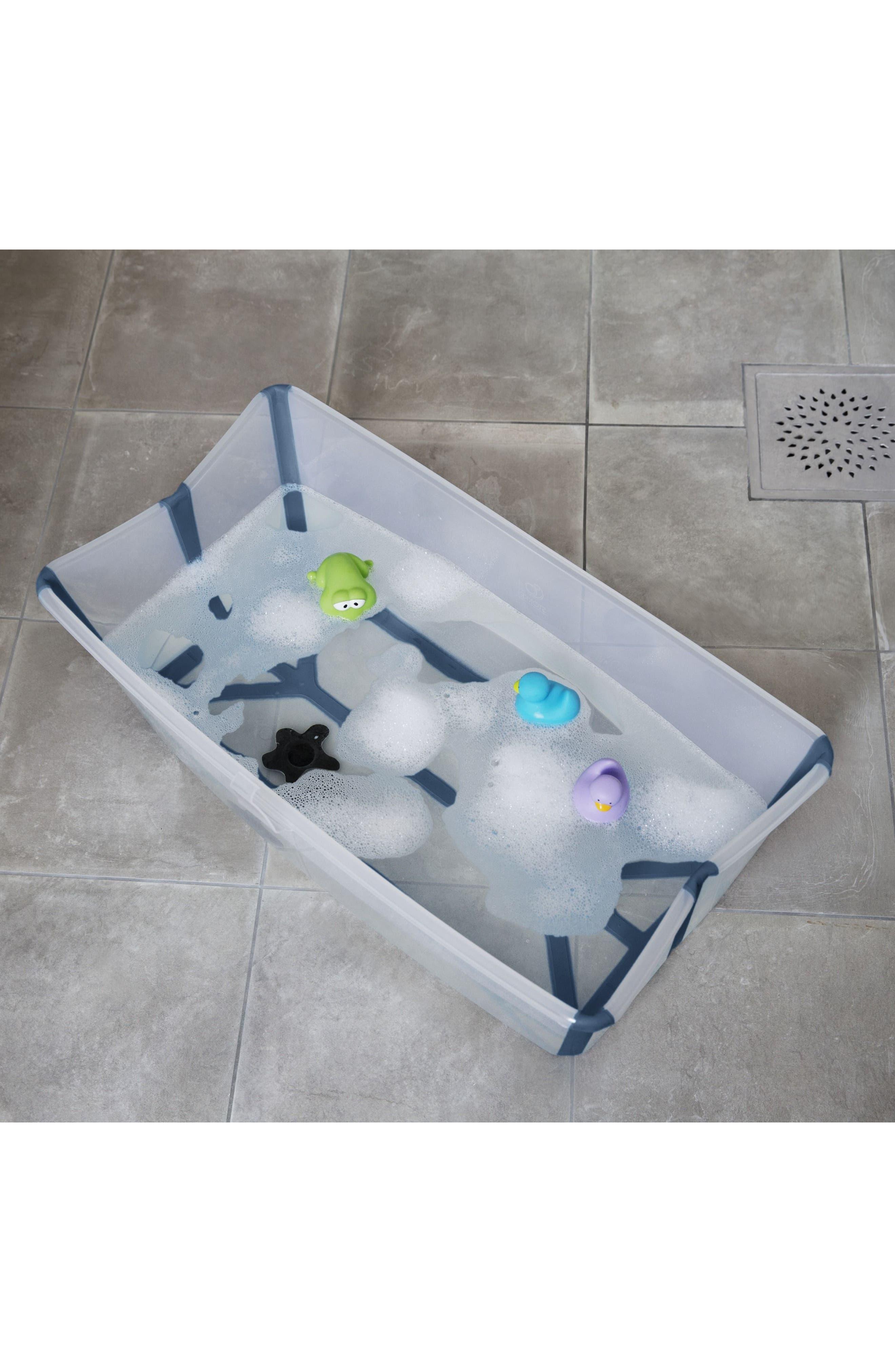 'Flexi Bath<sup>®</sup>' Foldable Baby Bathtub,                             Alternate thumbnail 3, color,                             TRANSPARENT BLUE