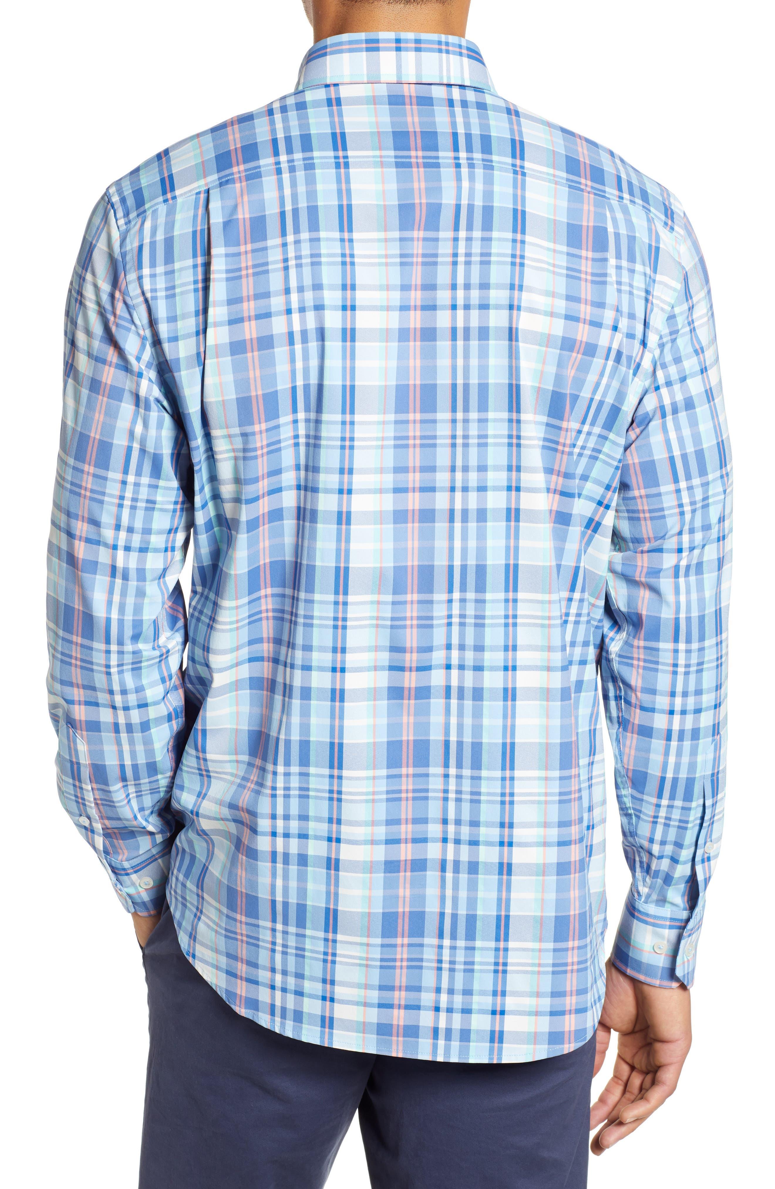 Siesta Intercoastal Regular Fit Plaid Performance Sport Shirt,                             Alternate thumbnail 3, color,                             SKY BLUE