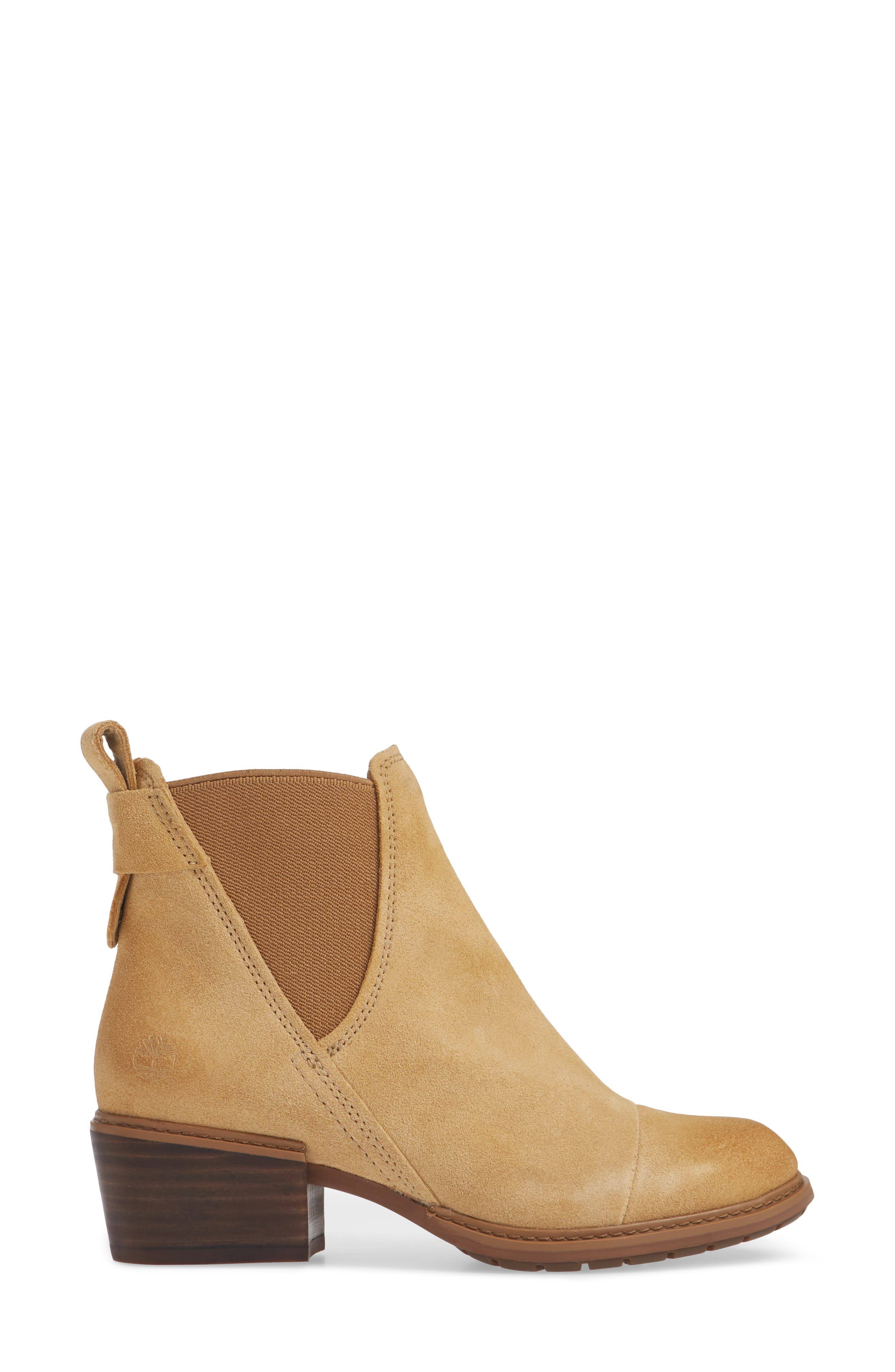 TIMBERLAND,                             Sutherlin Bay Slouch Chelsea Bootie,                             Alternate thumbnail 3, color,                             ICED COFFEE SUEDE