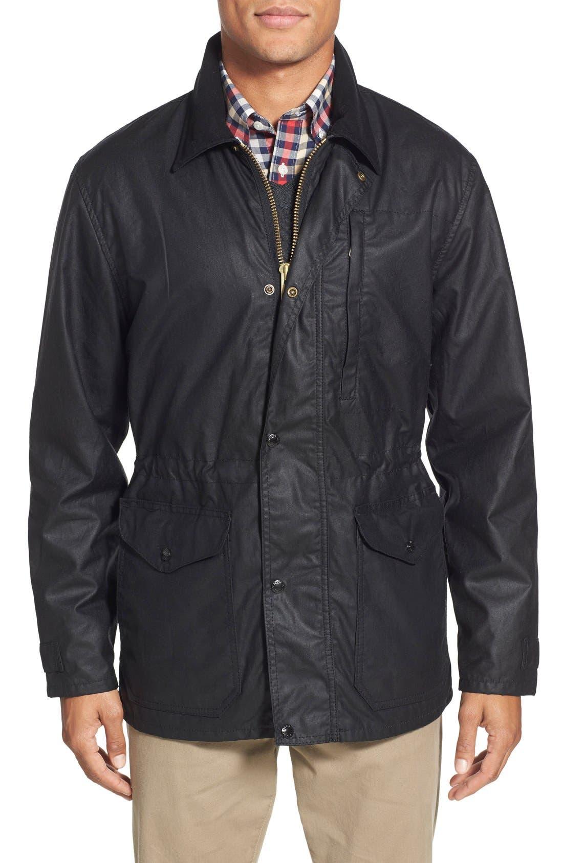 'Cover Cloth Mile Marker' Waxed Cotton Coat,                             Main thumbnail 1, color,                             001