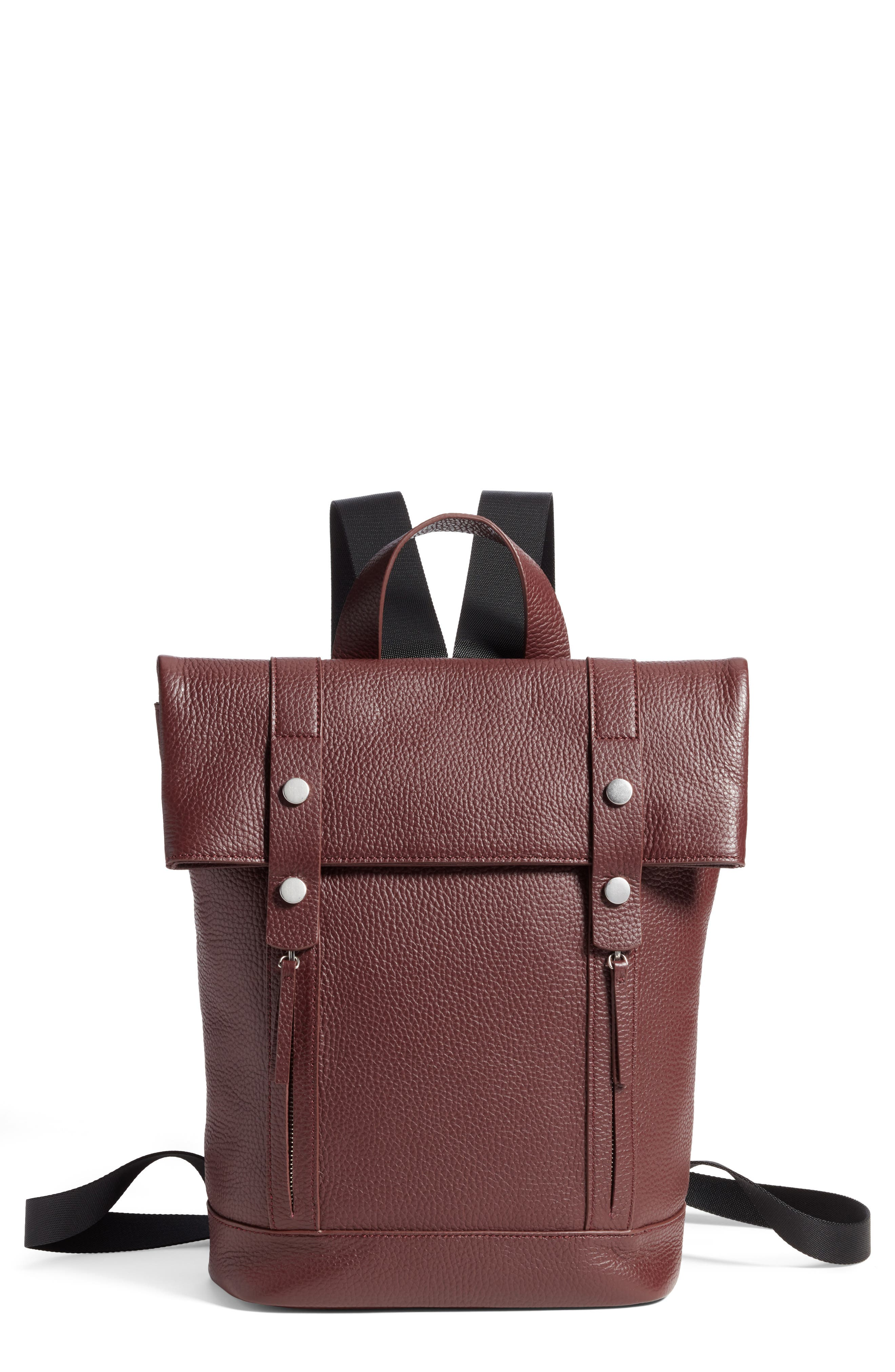 Remy Pebbled Leather Backpack,                             Main thumbnail 1, color,                             BURGUNDY FIG