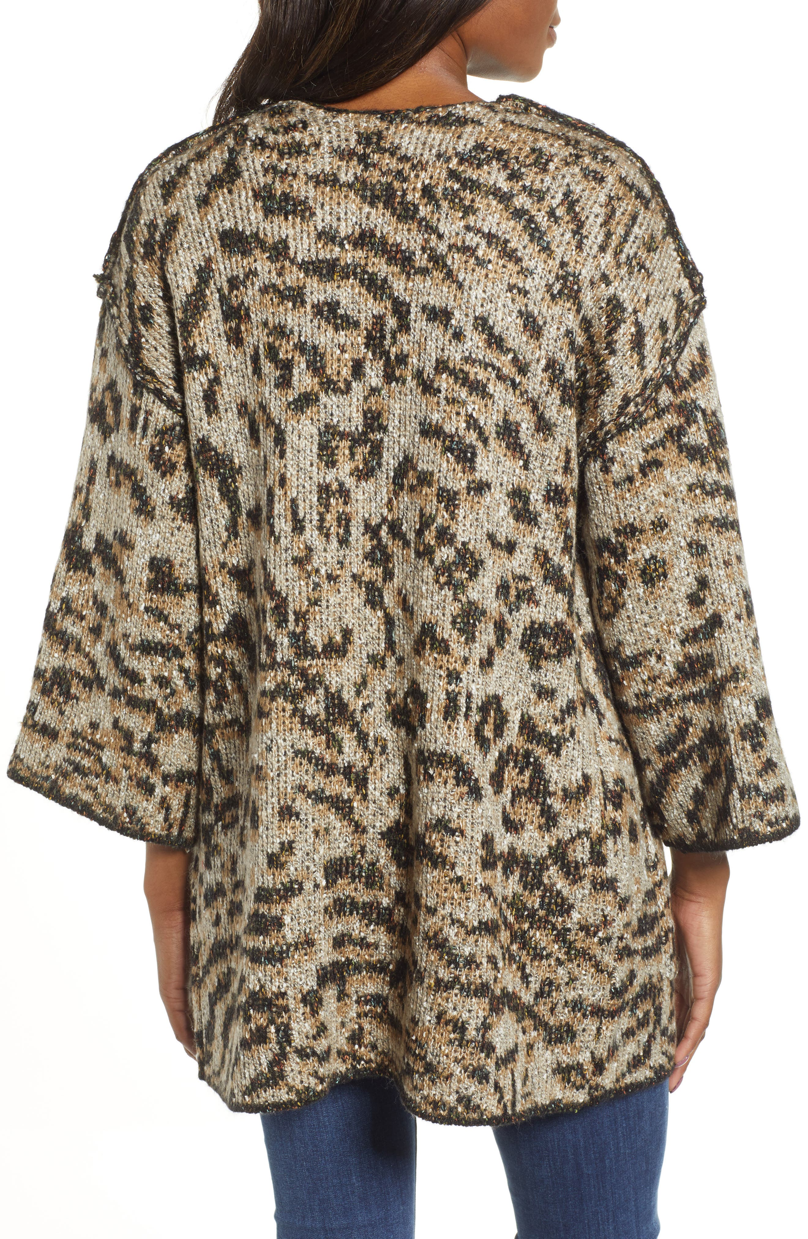 WIT & WISDOM,                             Reversible Tiger Jacquard Sweater Jacket,                             Alternate thumbnail 3, color,                             TAUPE