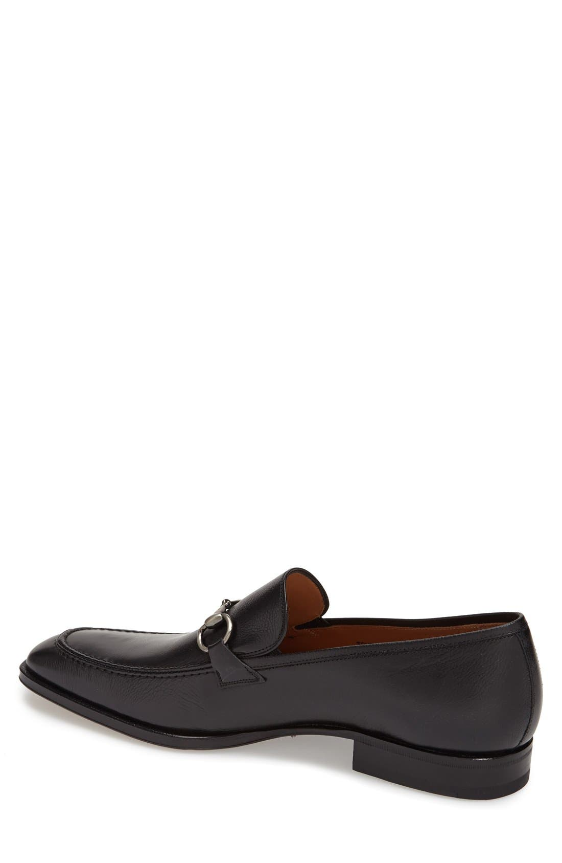 'Tours' Leather Bit Loafer,                             Alternate thumbnail 2, color,                             BLACK