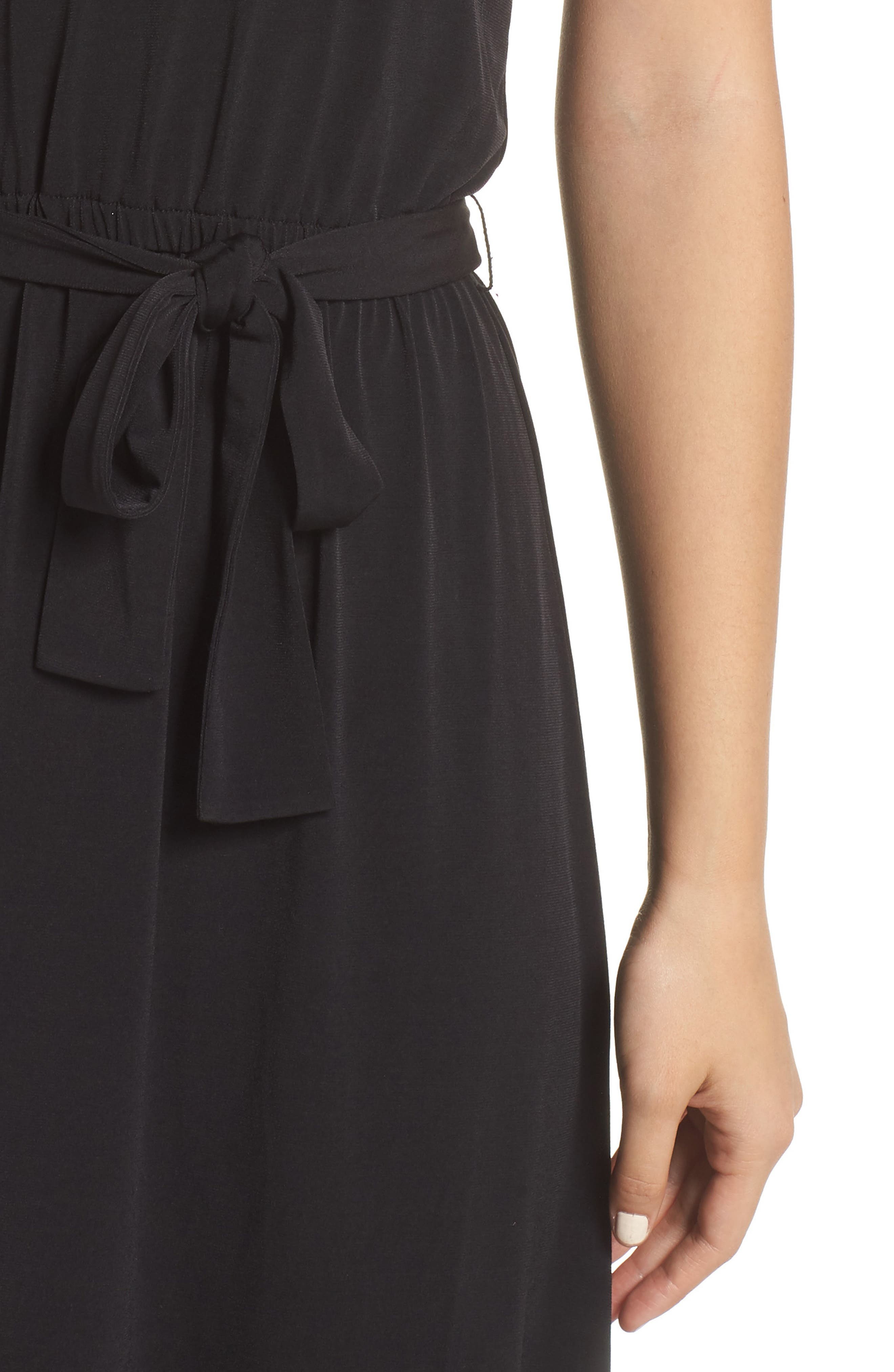 MICHAEL MICHAEL KORS,                             Halter Midi Dress,                             Alternate thumbnail 5, color,                             BLACK