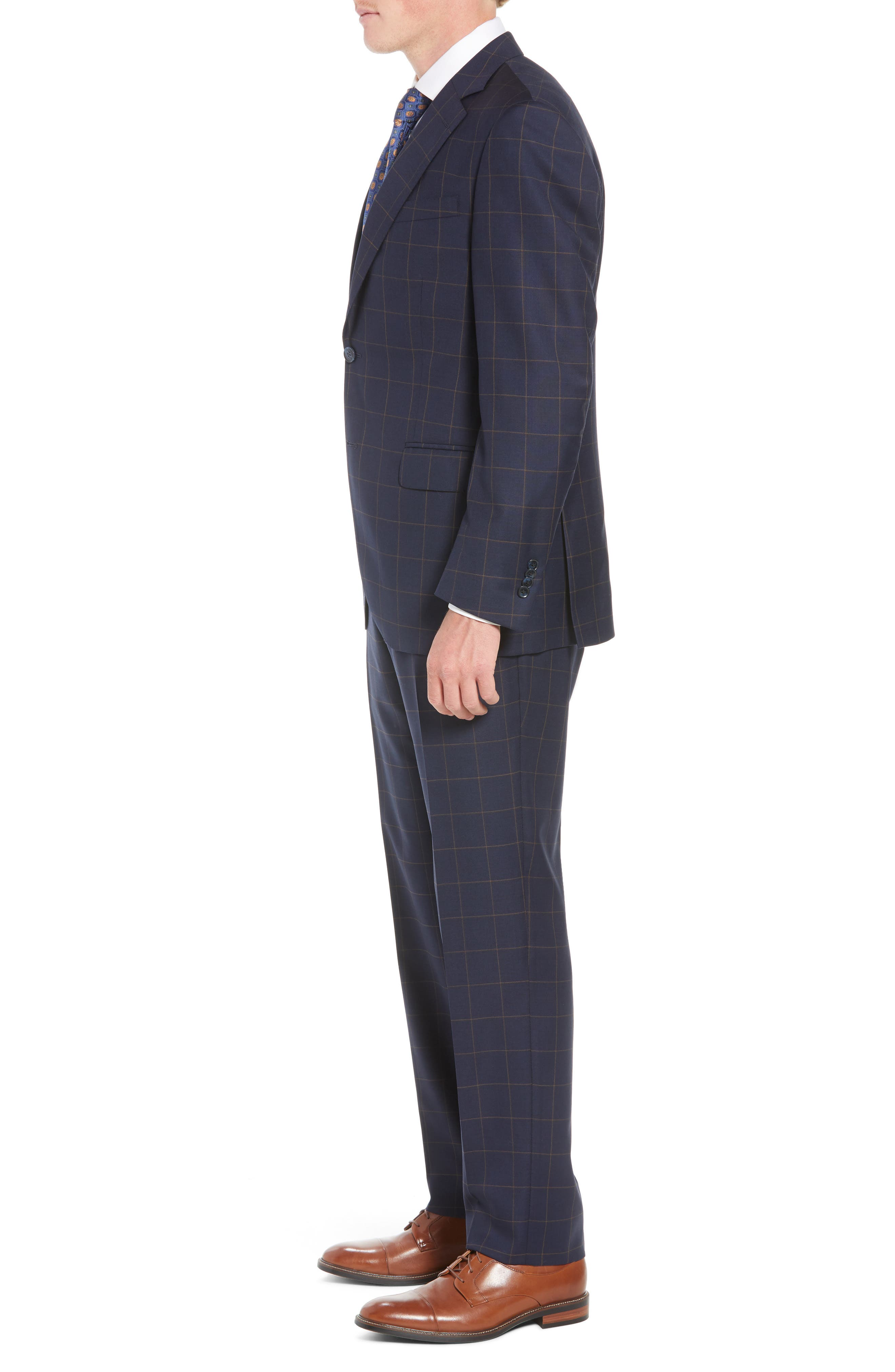 PETER MILLAR,                             Flynn Classic Fit Windowpane Wool Suit,                             Alternate thumbnail 3, color,                             NAVY