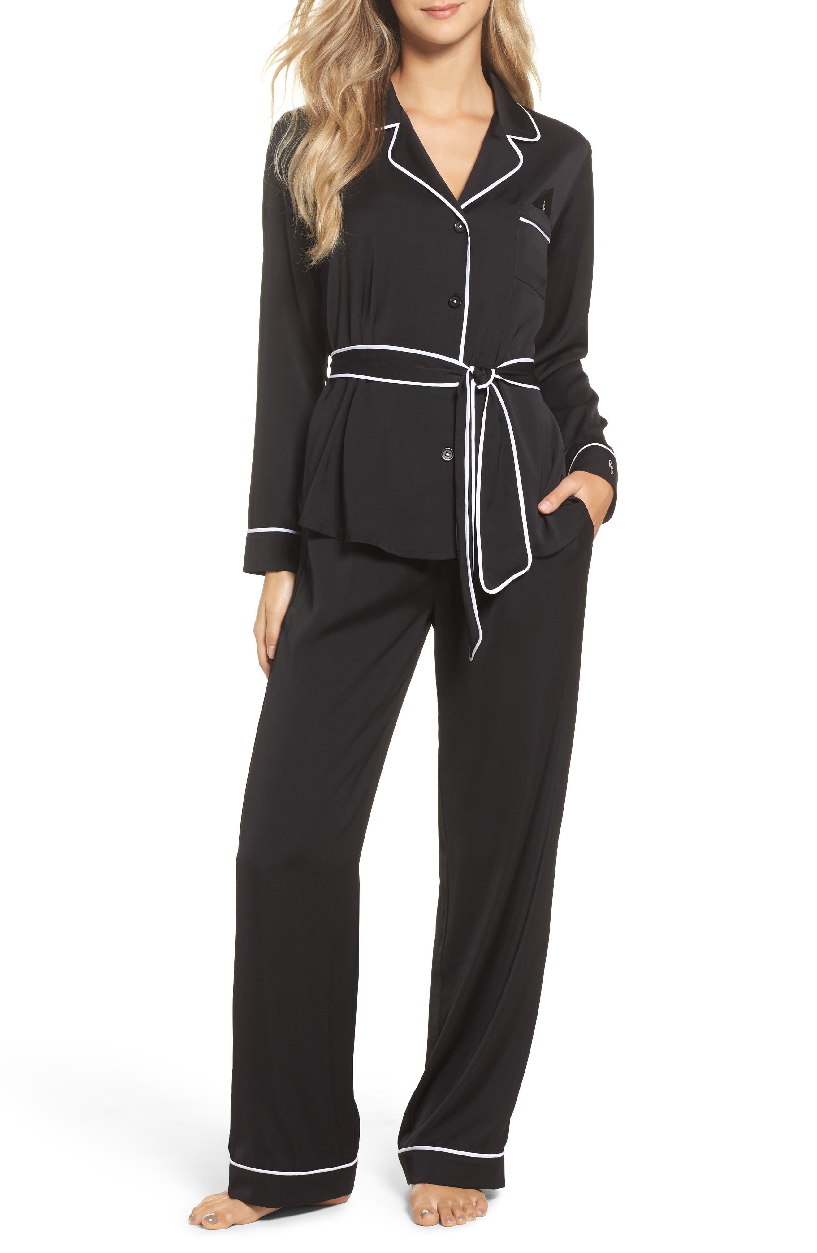Belted Satin Pajamas,                             Main thumbnail 1, color,                             001