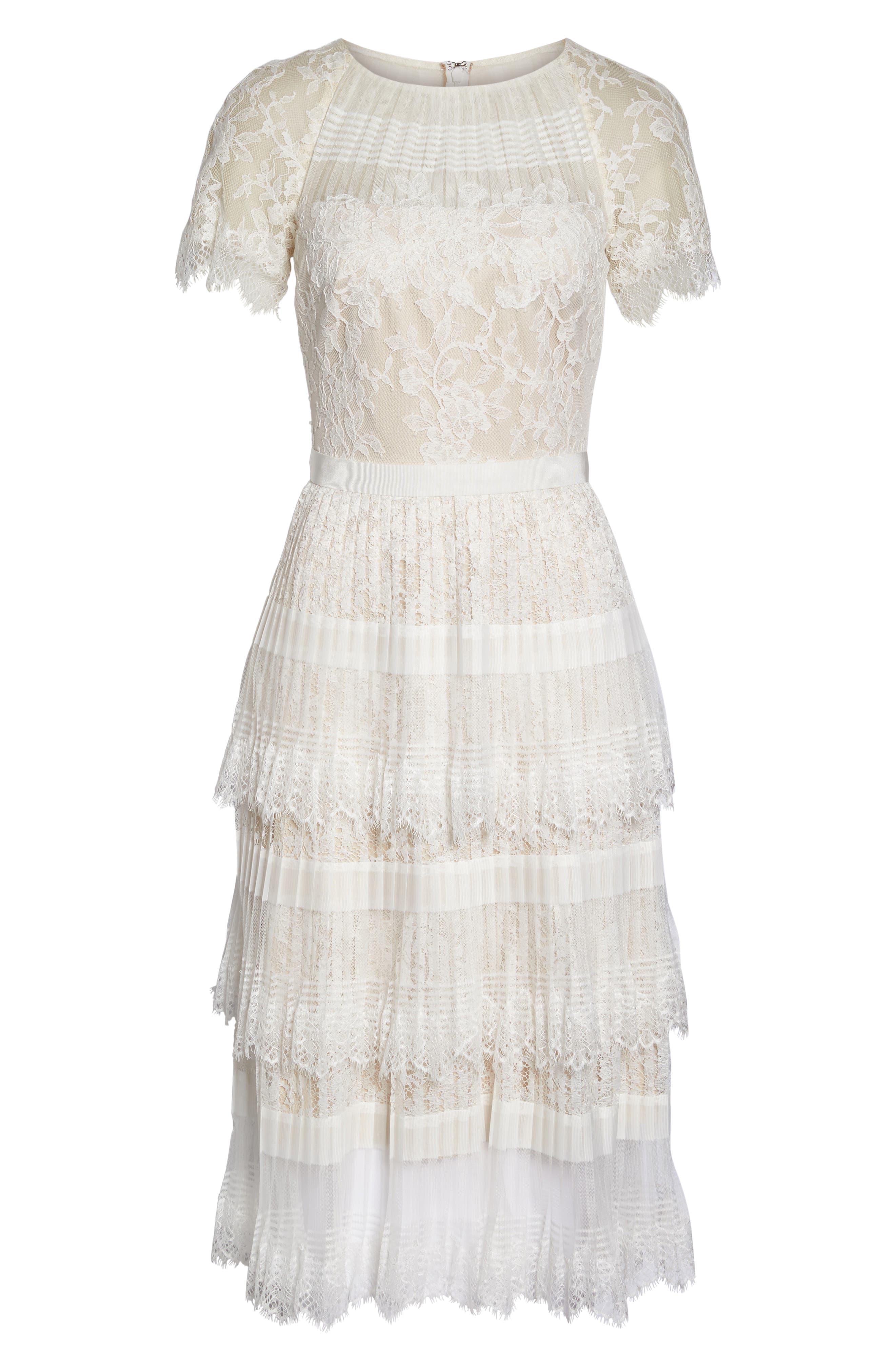 Nixie Tea Length Lace Dress,                             Alternate thumbnail 6, color,                             113
