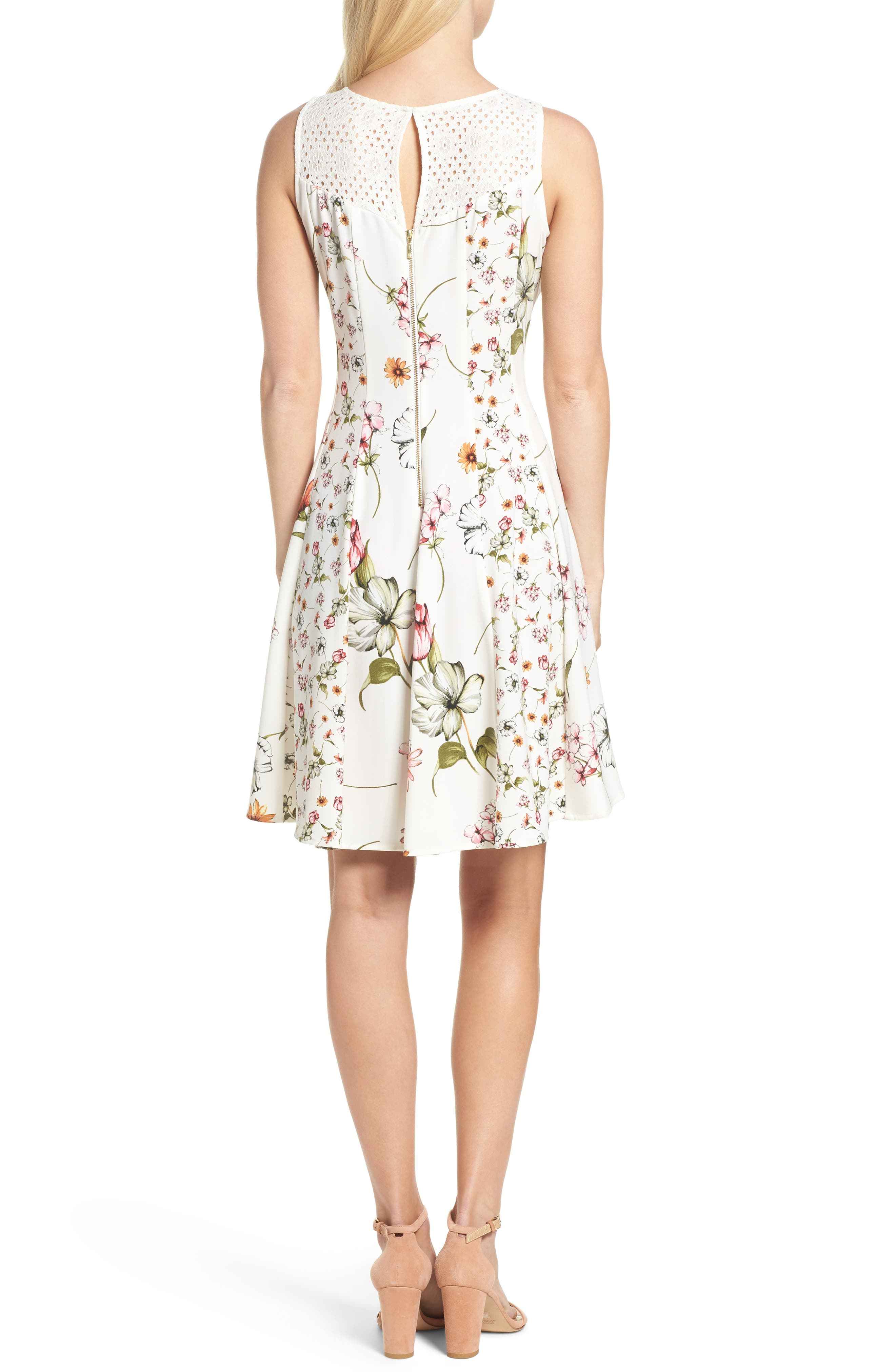 Floral Fit & Flare Dress,                             Alternate thumbnail 2, color,                             901