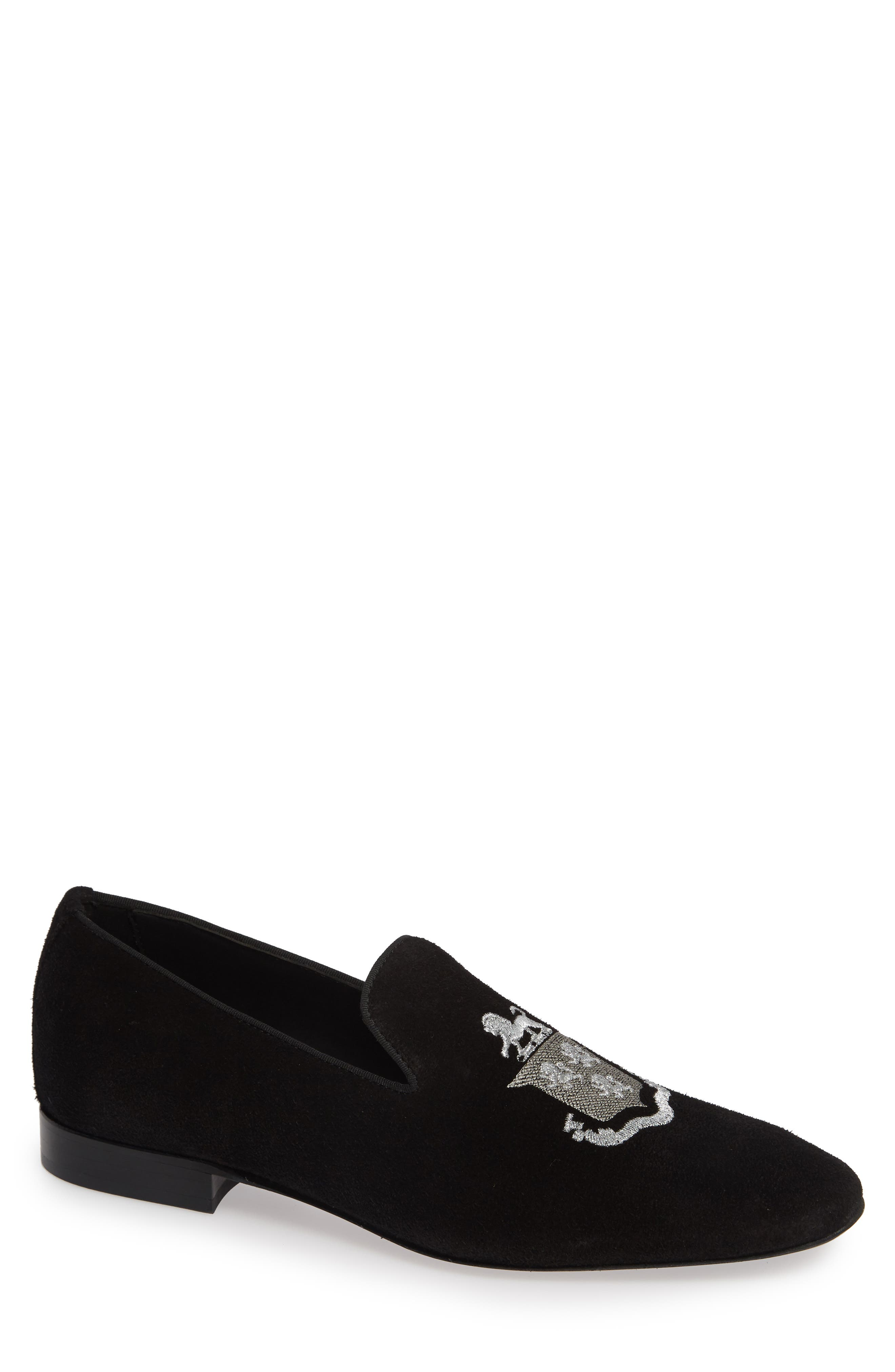 Altos Embroidered Venetian Loafer,                             Main thumbnail 1, color,                             BLACK SUEDE