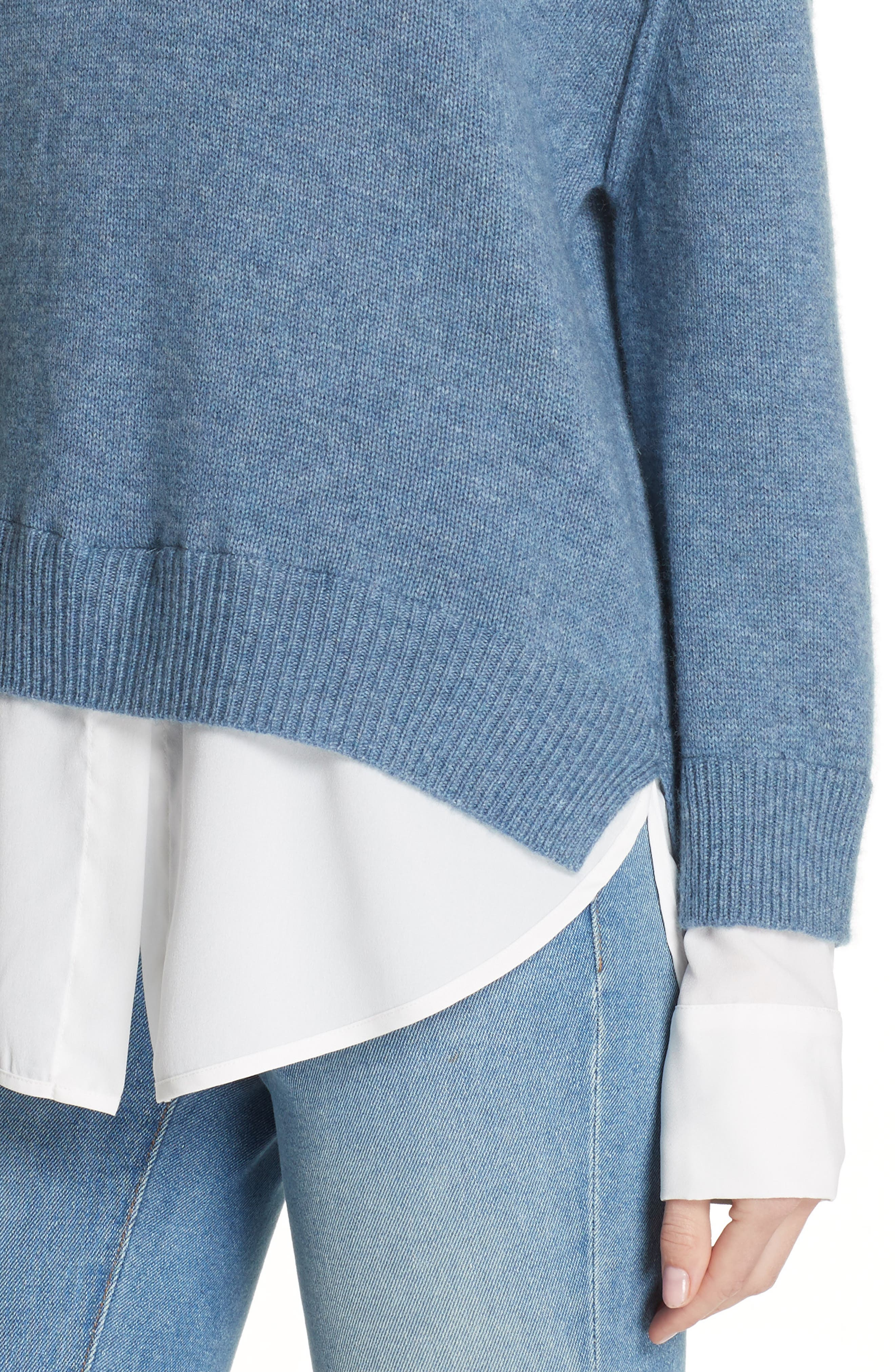 V-Neck Layered Pullover,                             Alternate thumbnail 4, color,                             JEAN