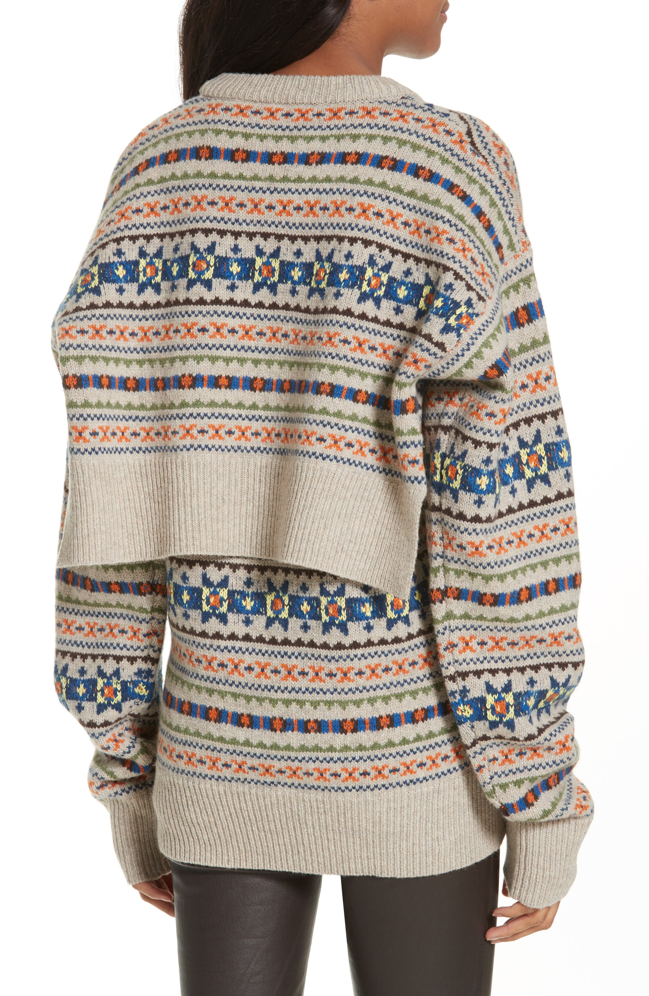Double Layer Fair Isle Sweater,                             Alternate thumbnail 2, color,