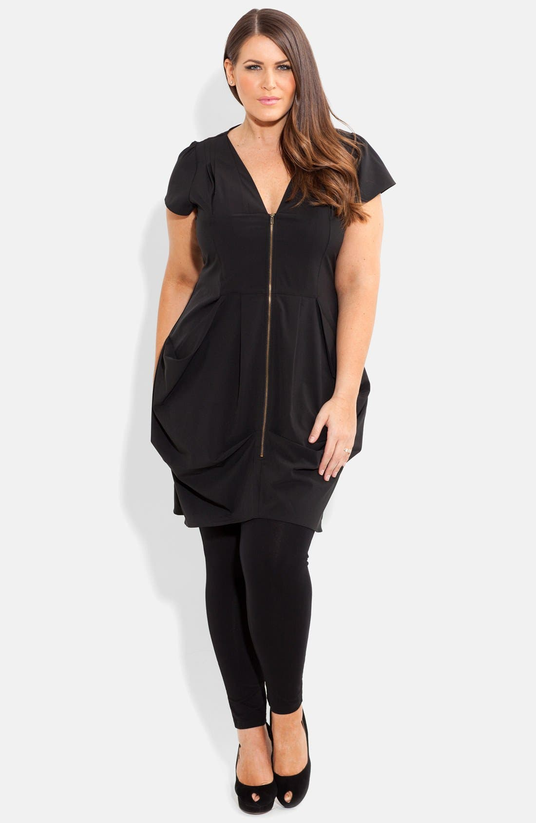 Front Zip Pleat Tunic,                         Main,                         color, 001