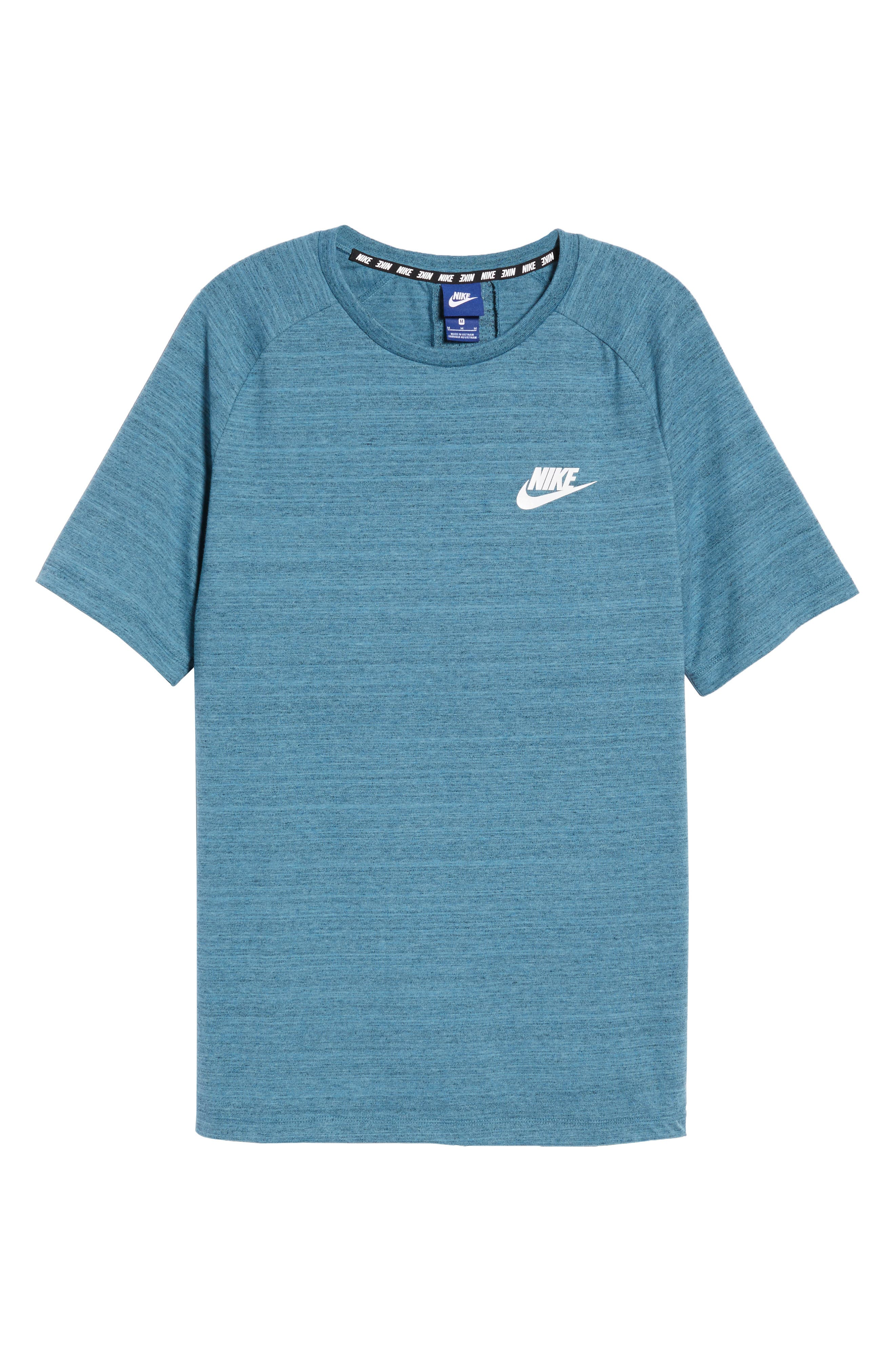 NSW AV15 Crewneck T-Shirt,                             Alternate thumbnail 6, color,                             NOISE AQUA/ HEATHER/ WHITE