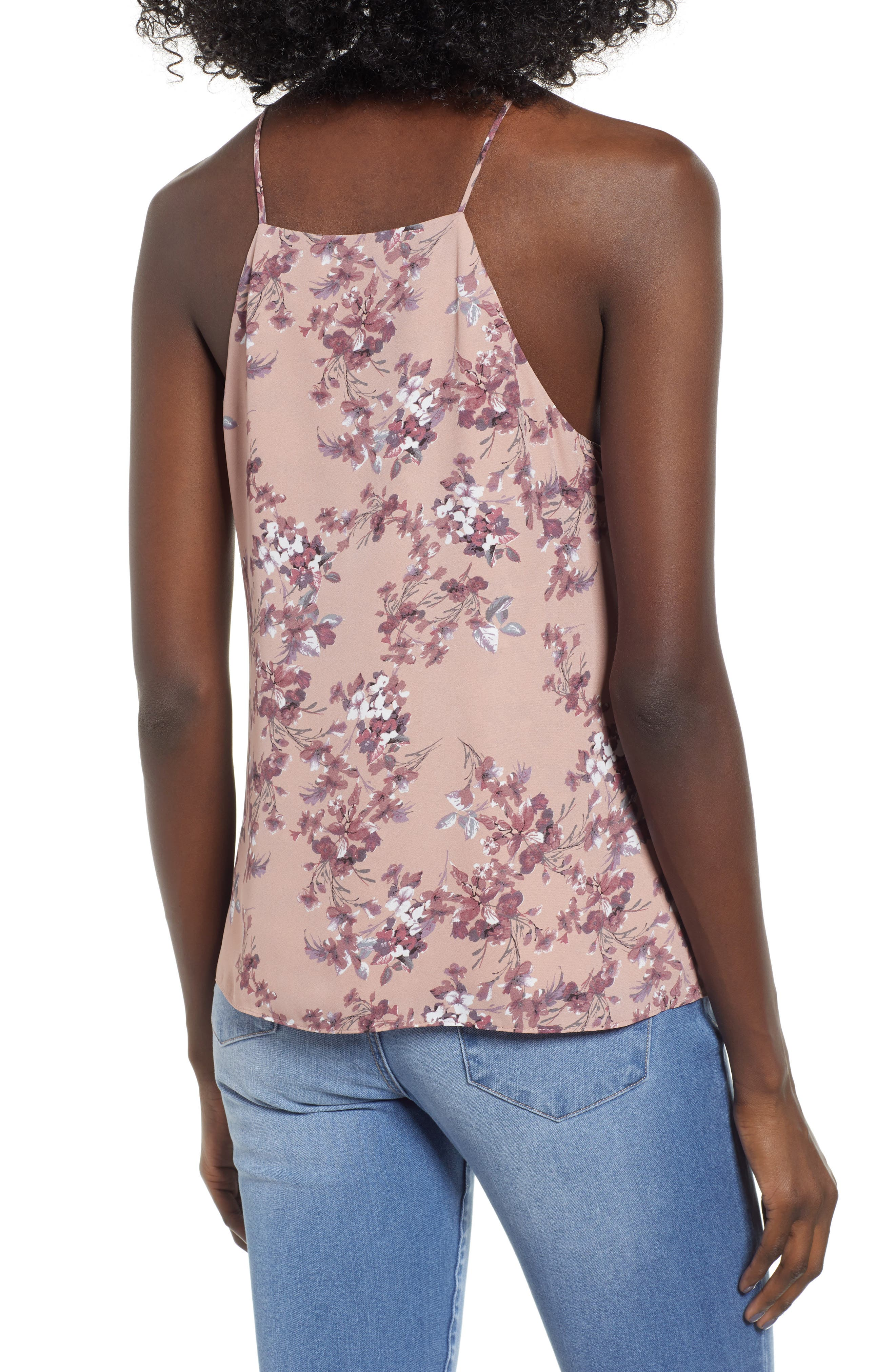 Posie Strappy Camisole,                             Alternate thumbnail 2, color,                             DUSTY MAUVE FLORAL