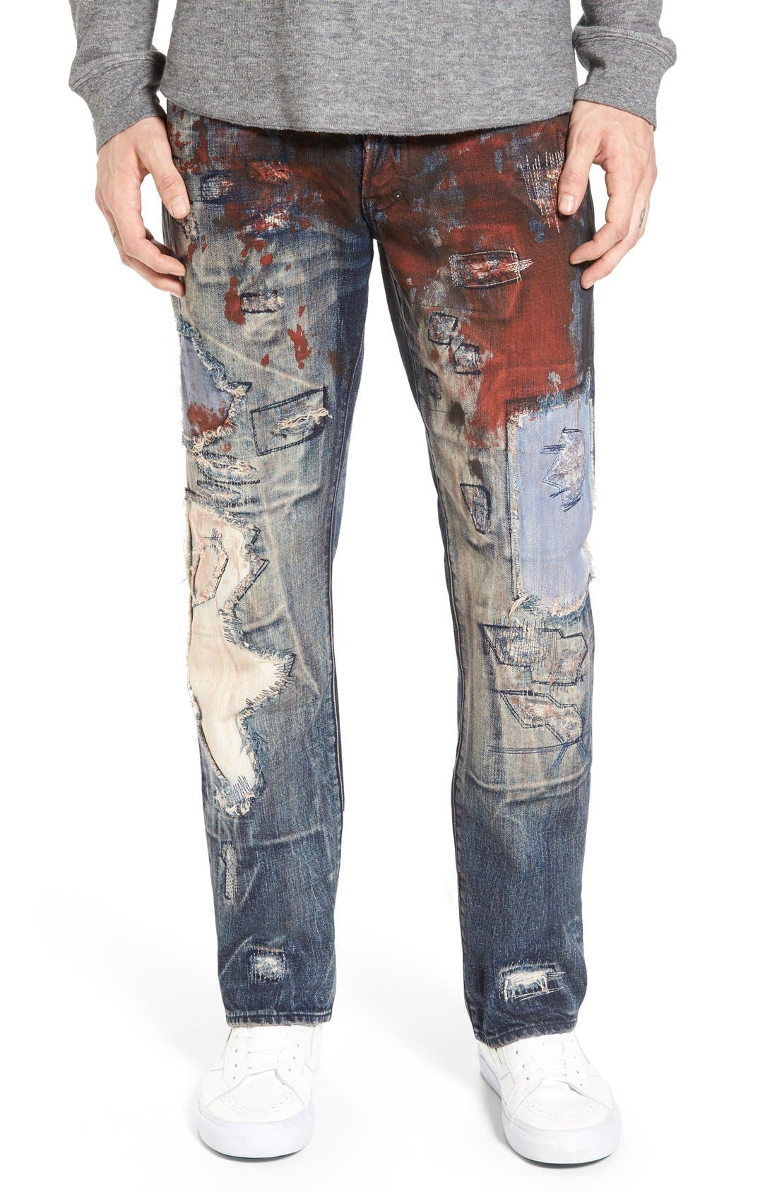 'Barracuda' Destroyed Straight Leg Jeans,                             Main thumbnail 1, color,                             490