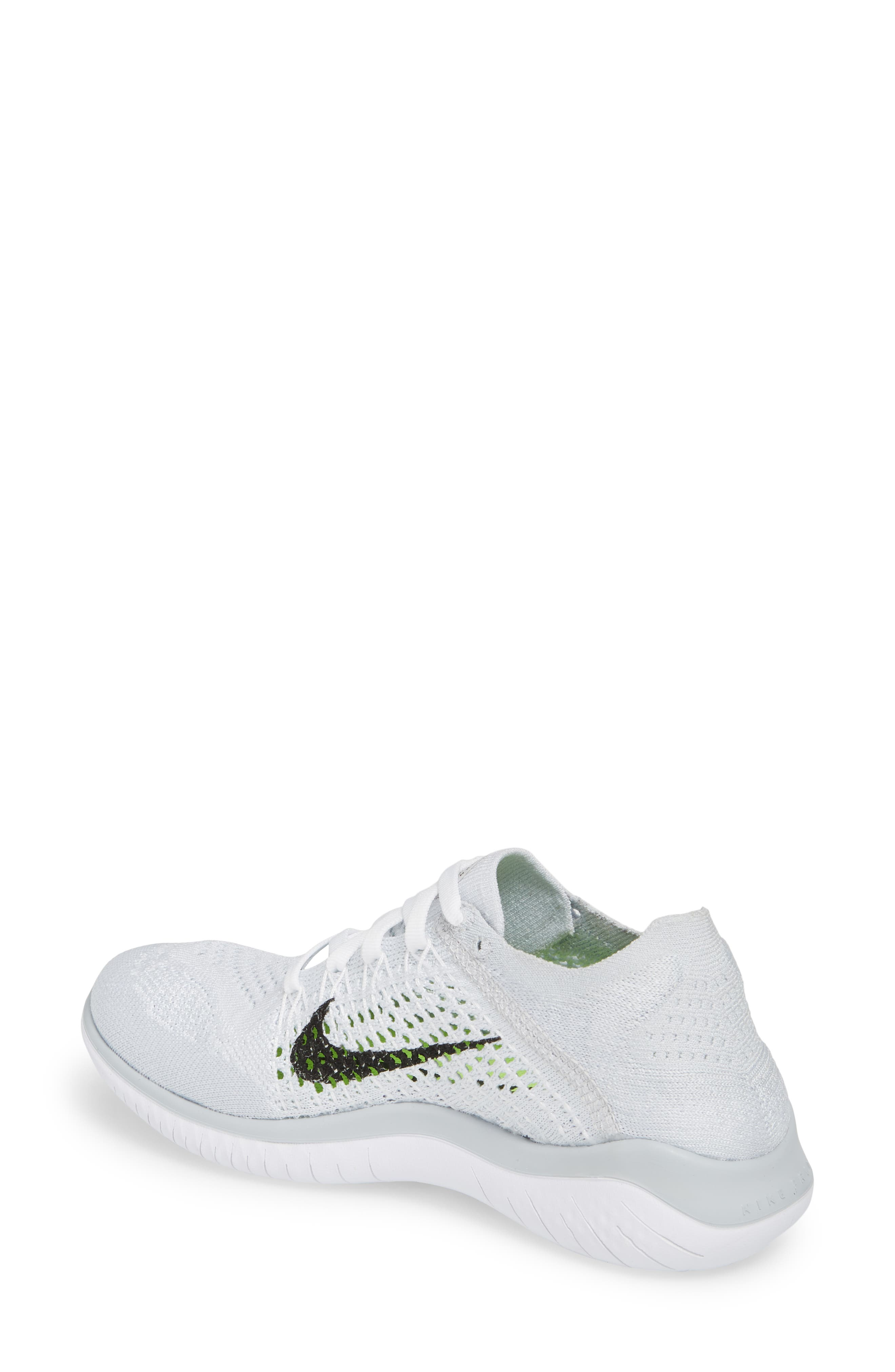 Free RN Flyknit 2018 Running Shoe,                             Alternate thumbnail 2, color,                             WHITE/ BLACK/ PURE PLATINUM