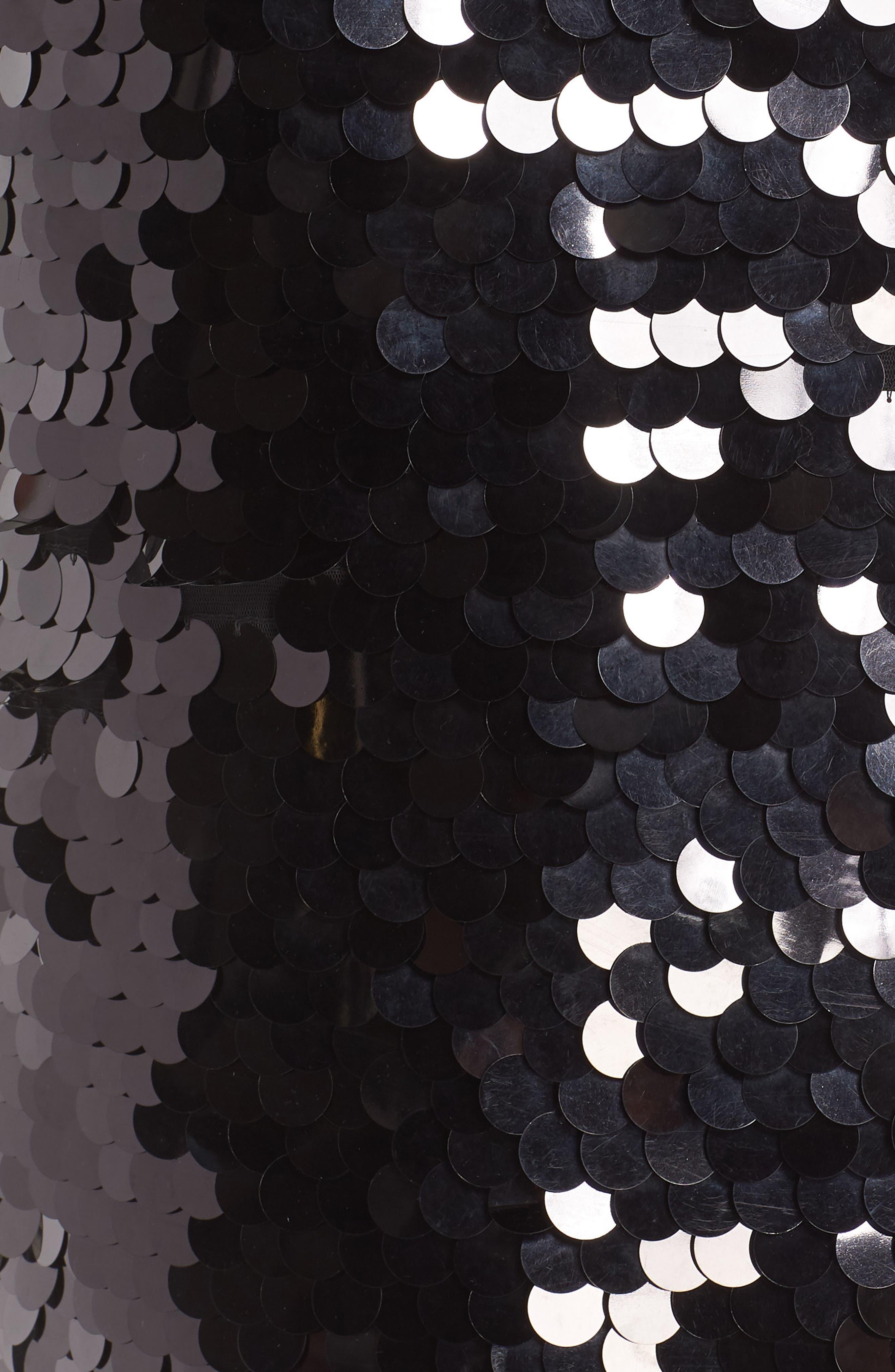 Paillette Pencil Skirt,                             Alternate thumbnail 5, color,                             BLACK