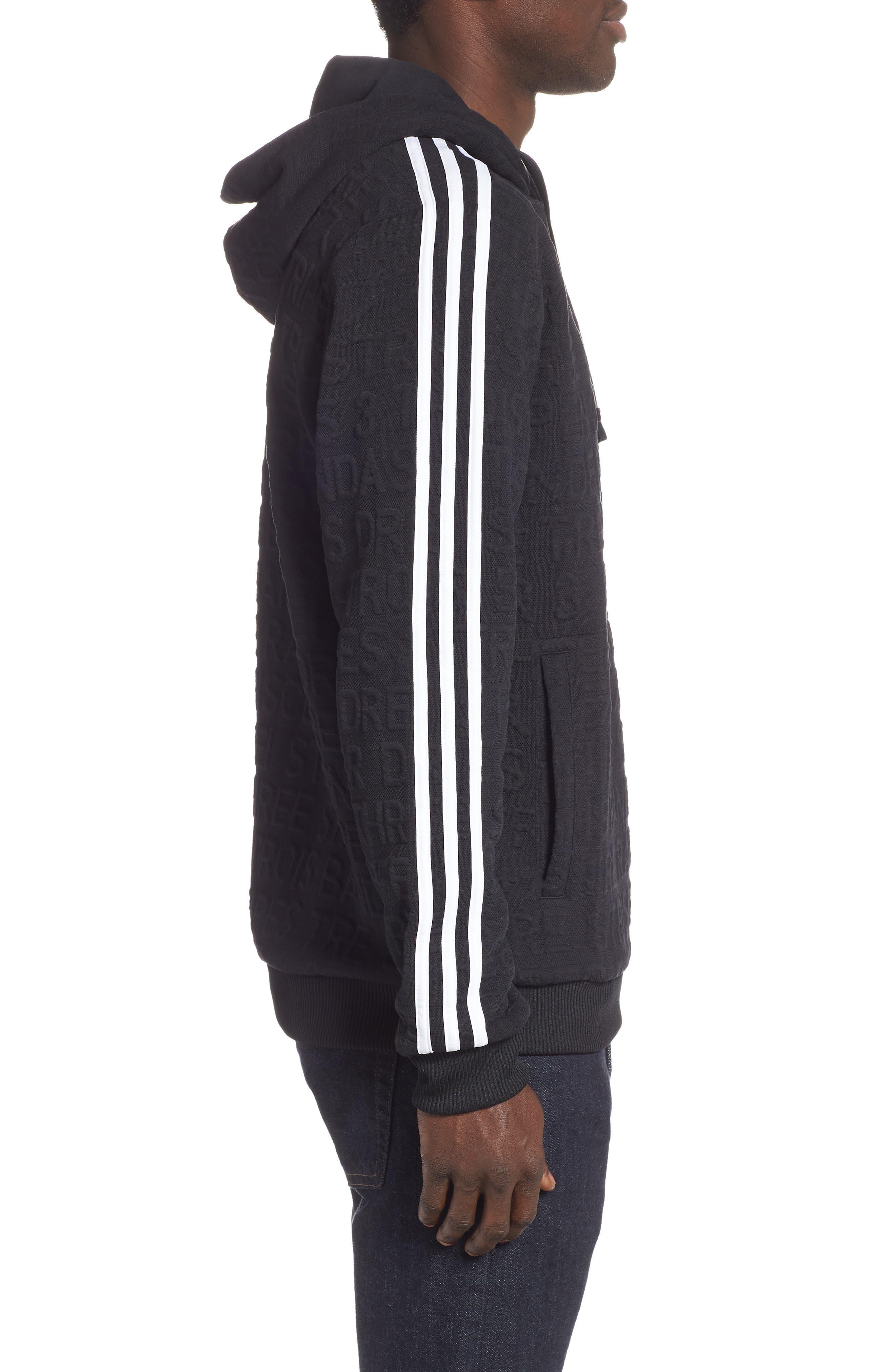 ADIDAS,                             3-Stripes Hoodie Sweatshirt,                             Alternate thumbnail 3, color,                             BLACK