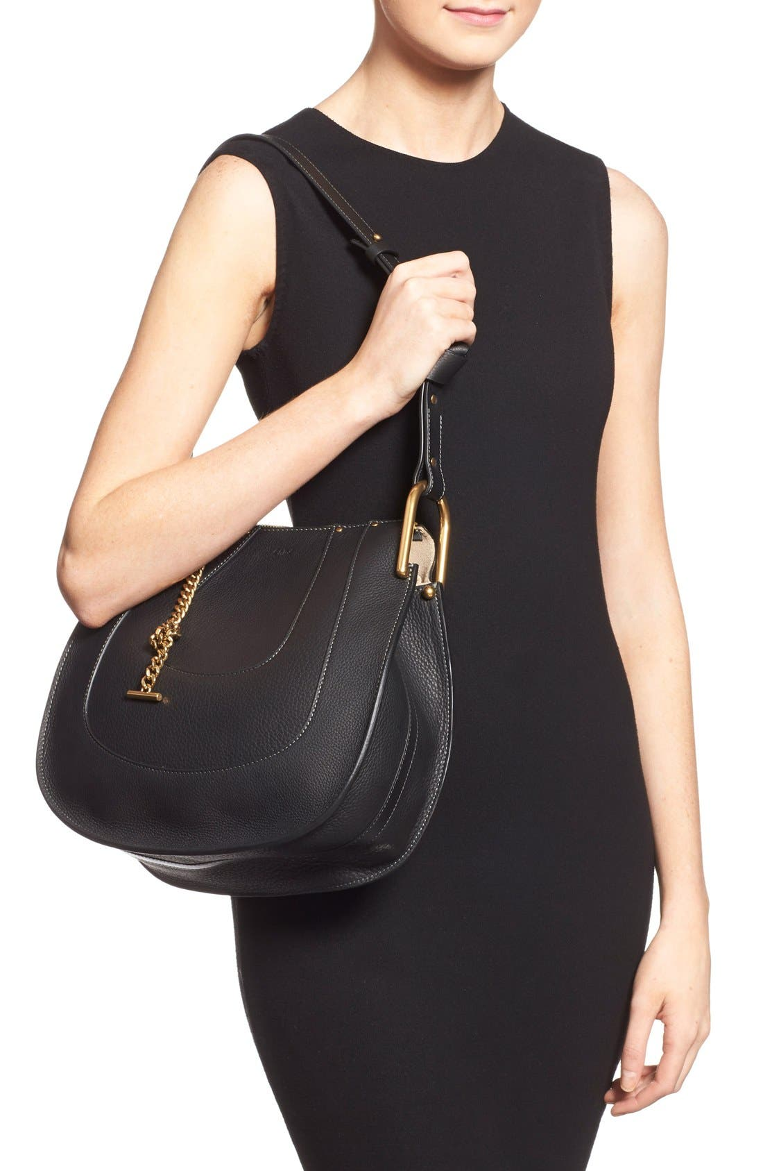 'Small Hayley' Leather Hobo Bag,                             Alternate thumbnail 4, color,                             001
