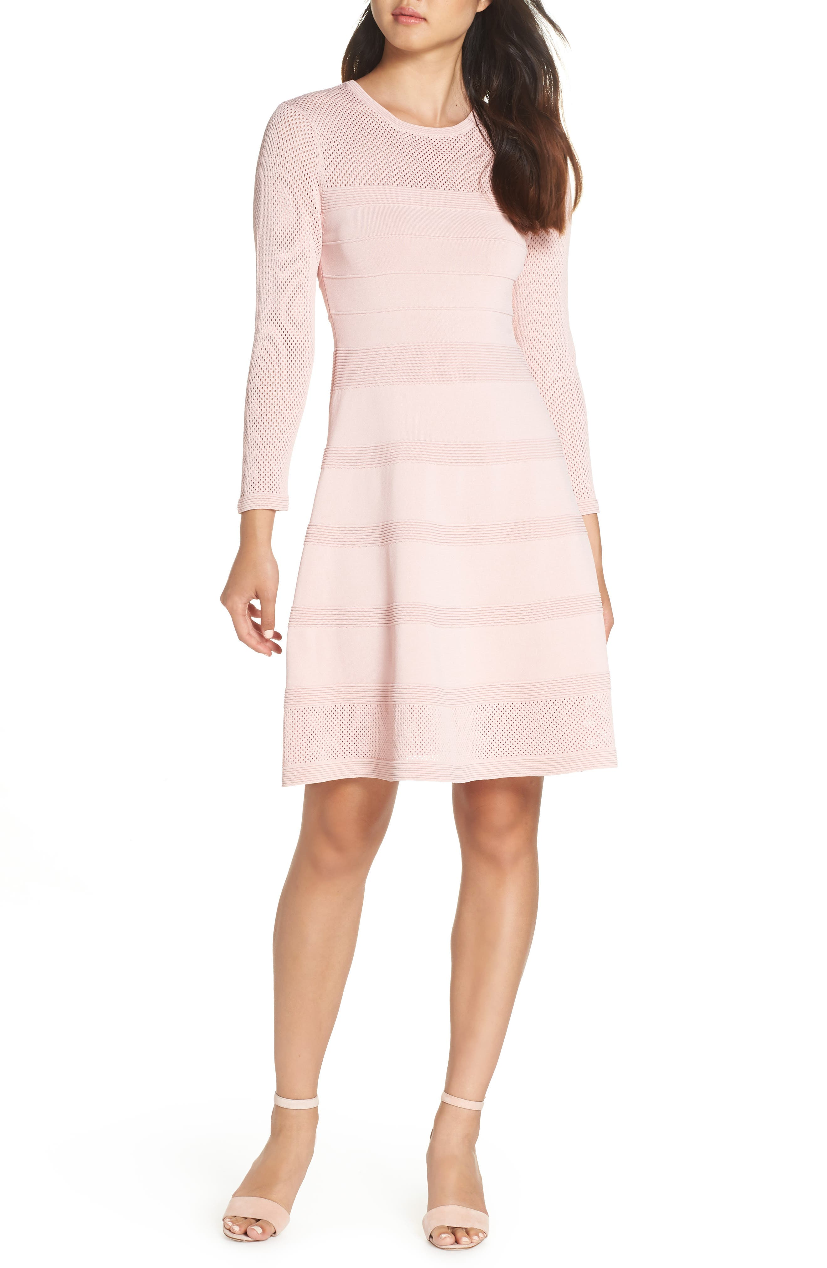 Vince Camuto Mix Stitch Pointelle Fit & Flare Dress, Pink