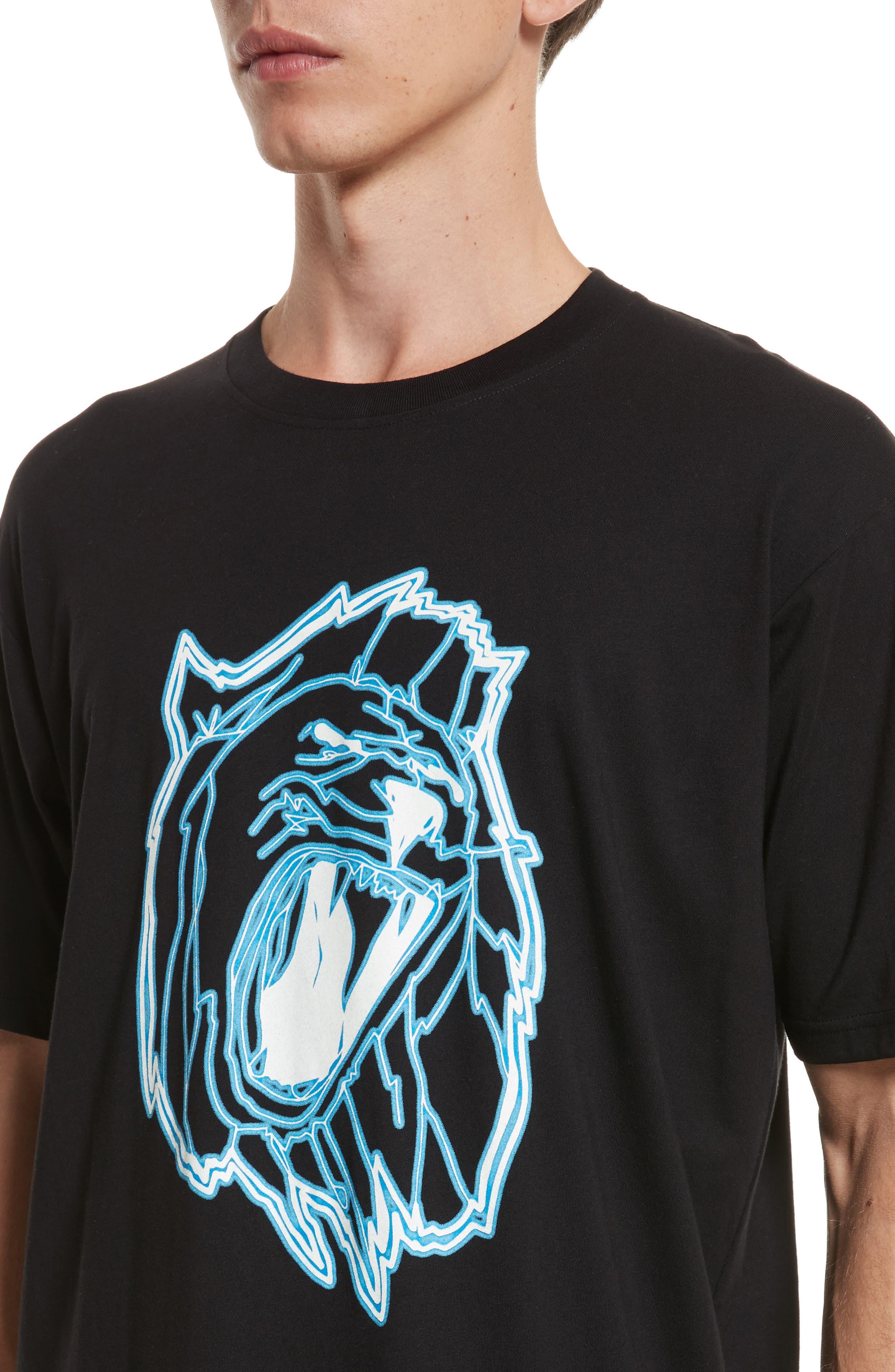 VERSUS by Versace Electric Lion Graphic T-Shirt,                             Alternate thumbnail 4, color,                             005