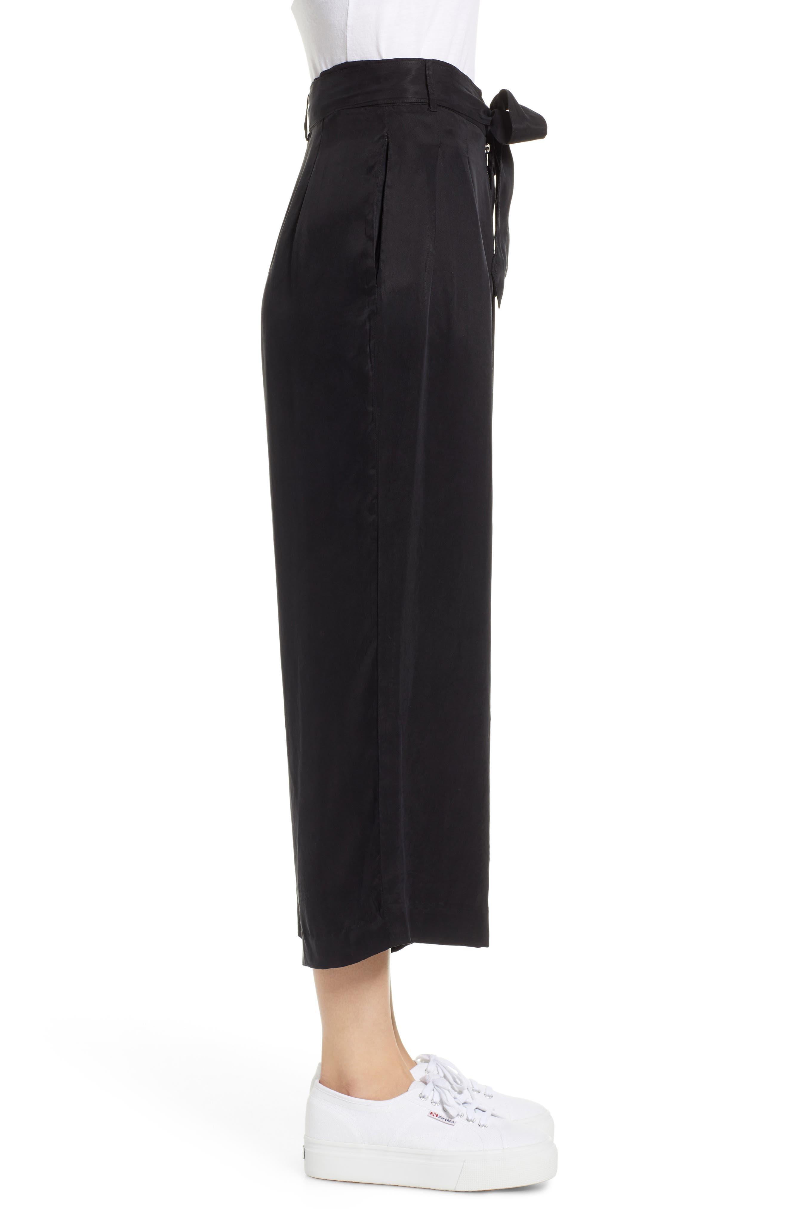 Jenna Cupro Wide Leg Pants,                             Alternate thumbnail 3, color,                             BLACK