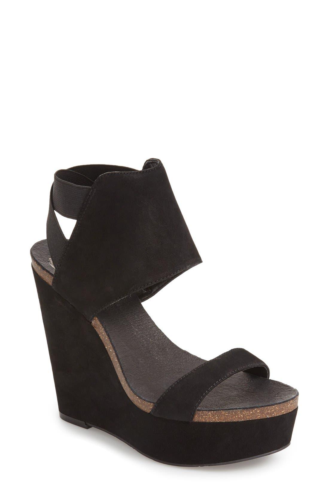 Kresta Platform Wedge Sandal,                             Main thumbnail 1, color,                             001